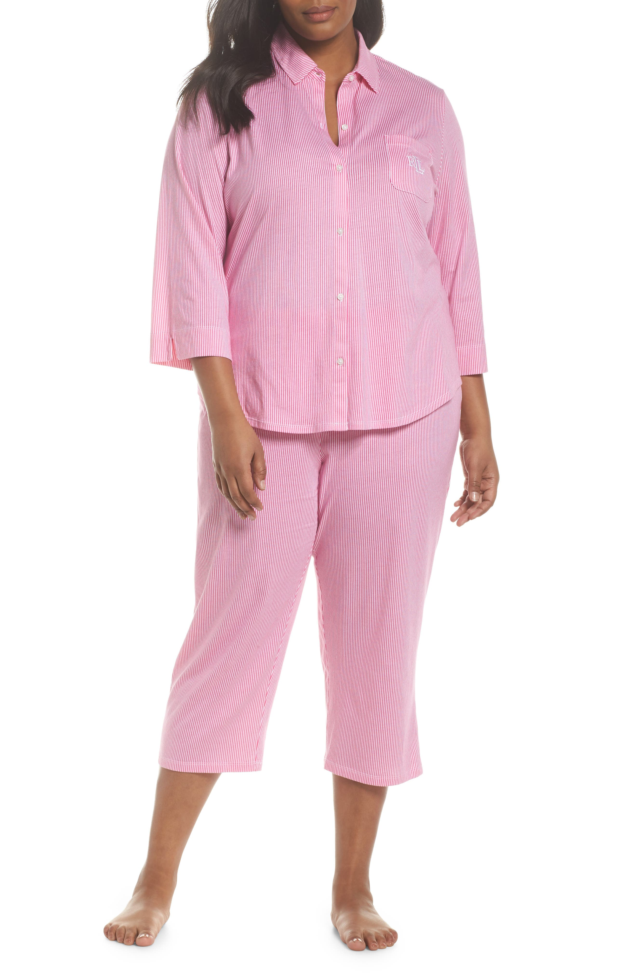 Crop Pajamas,                             Main thumbnail 1, color,                             Pink Stripe