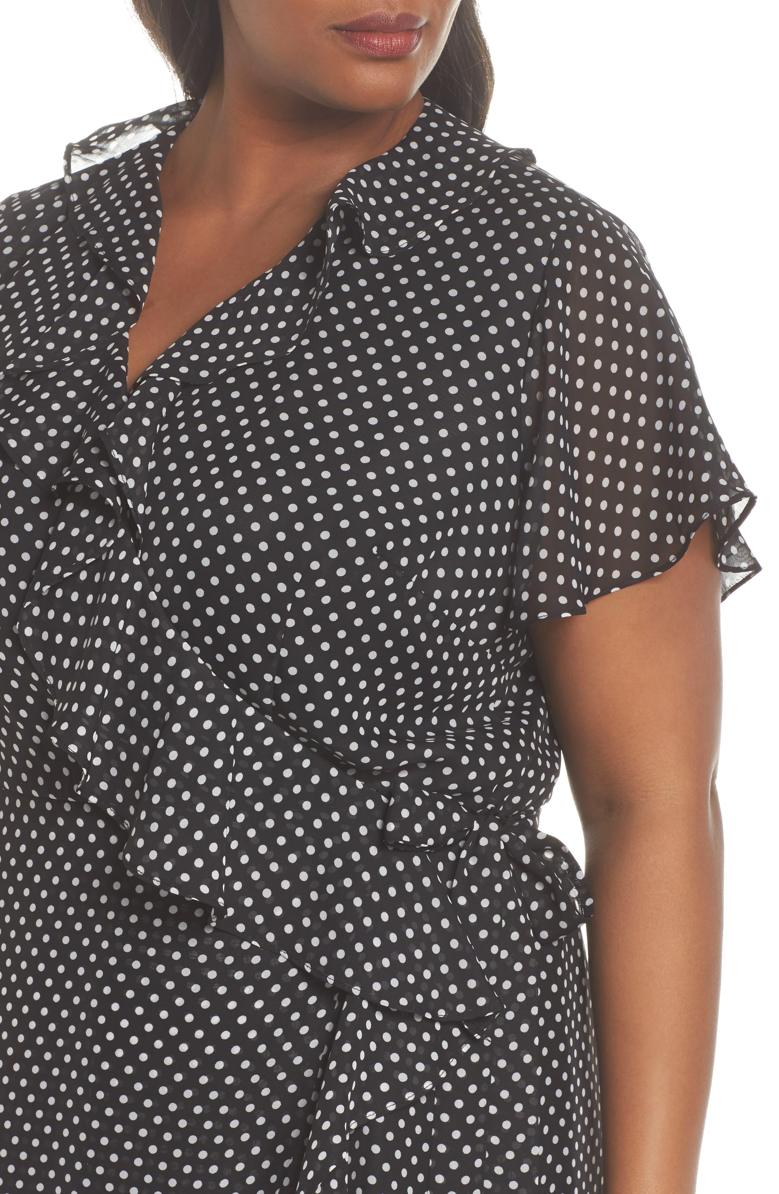 Polka Dot Faux Wrap Ruffle Dress,                             Alternate thumbnail 4, color,                             Black/ Ivory