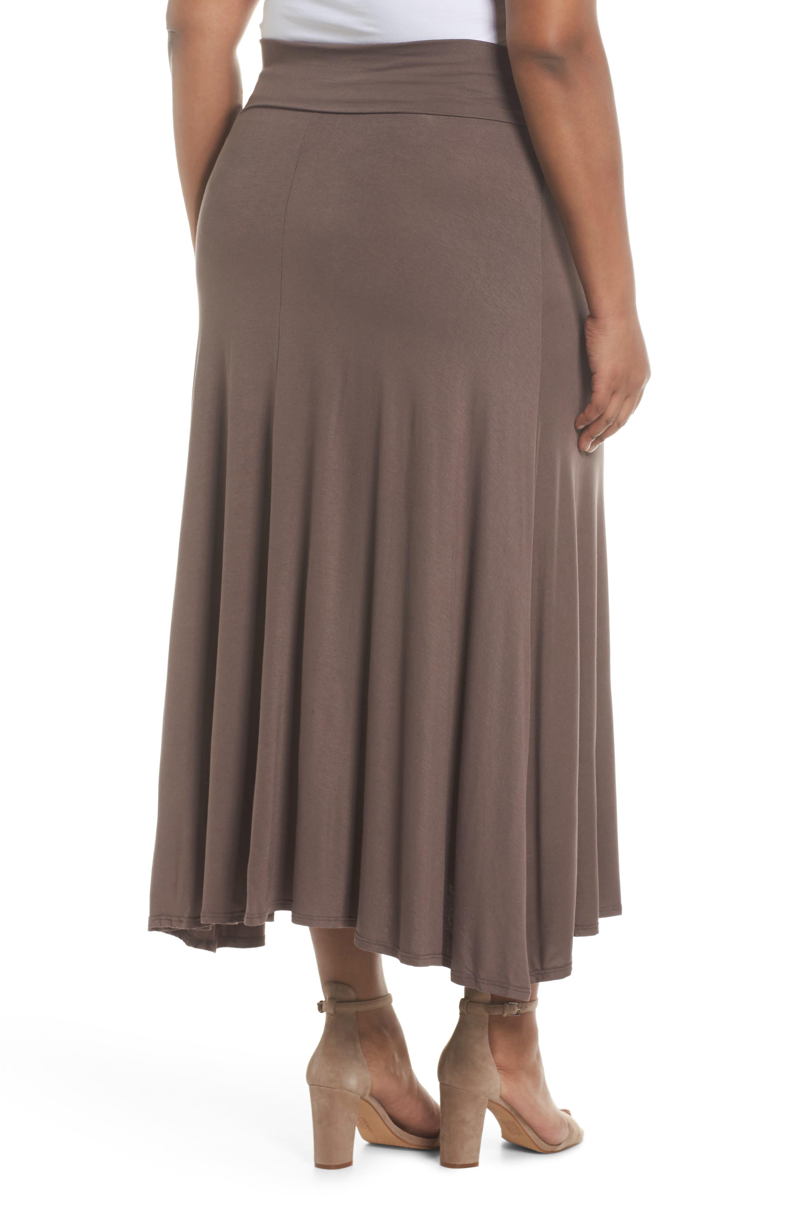 Foldover Knit Skirt,                             Alternate thumbnail 2, color,                             Mocha