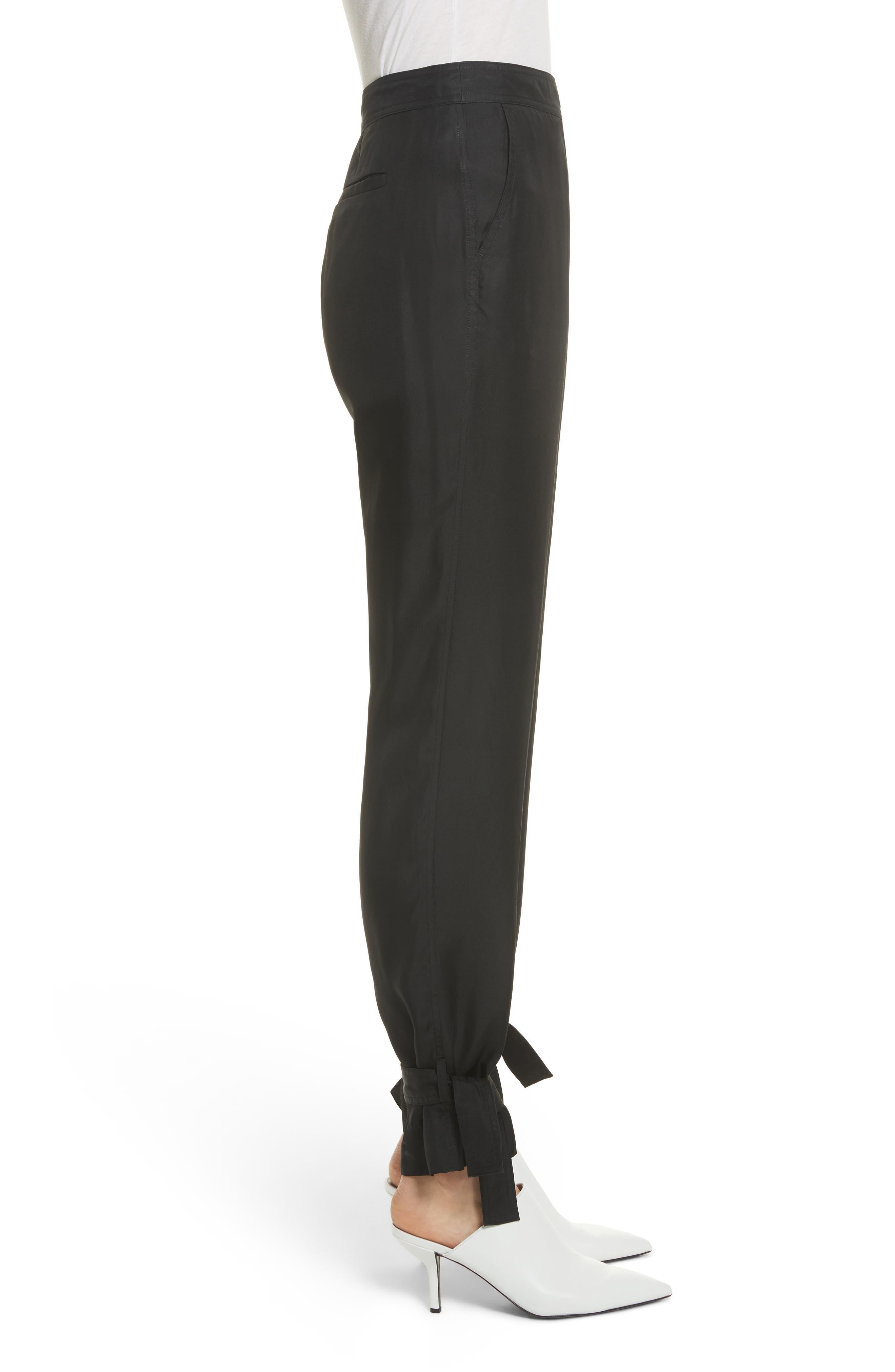 Tie Cuff Silk Pants,                             Alternate thumbnail 4, color,                             Black