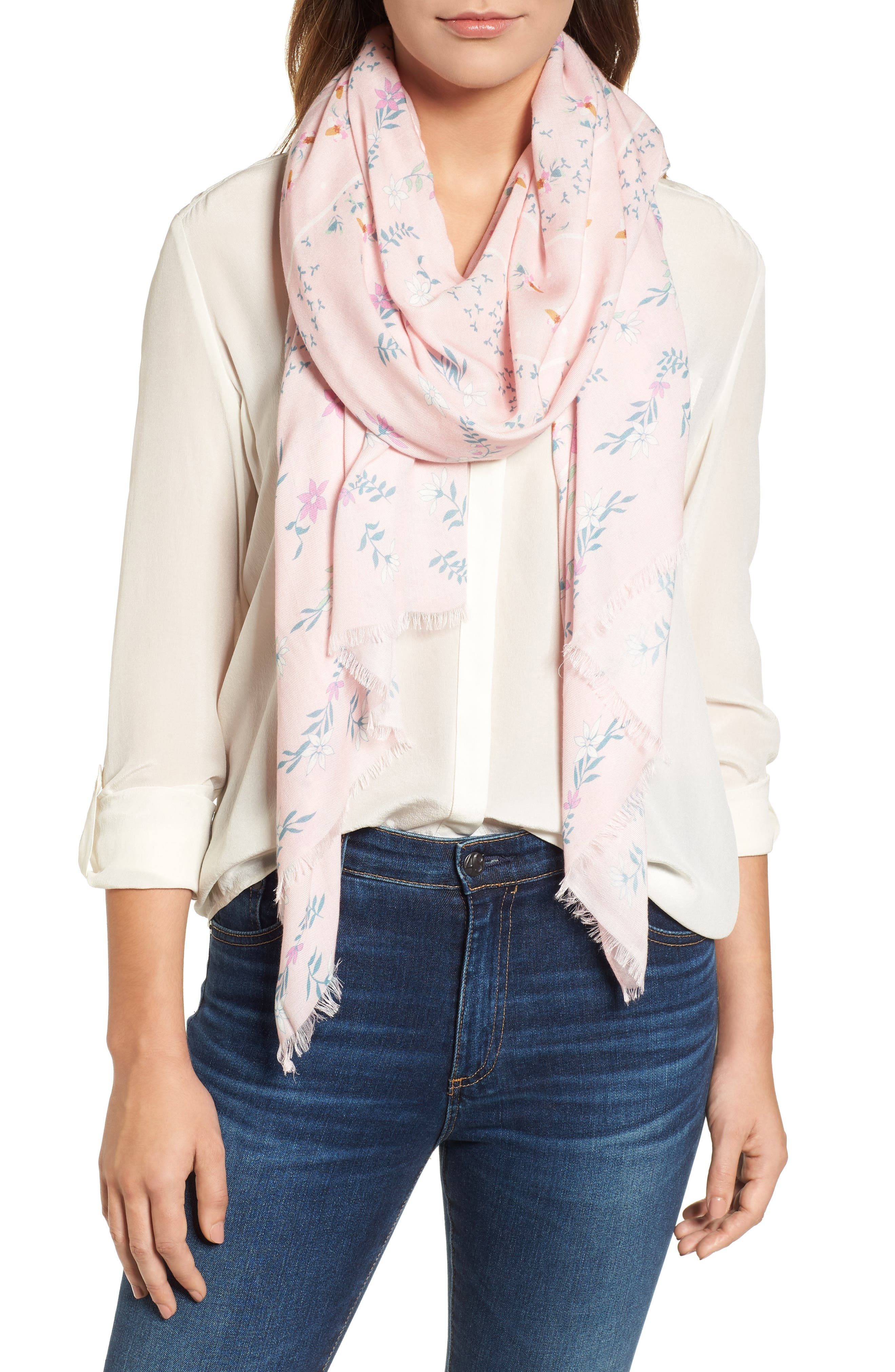 Twilight Floral Scarf,                             Main thumbnail 1, color,                             Pink