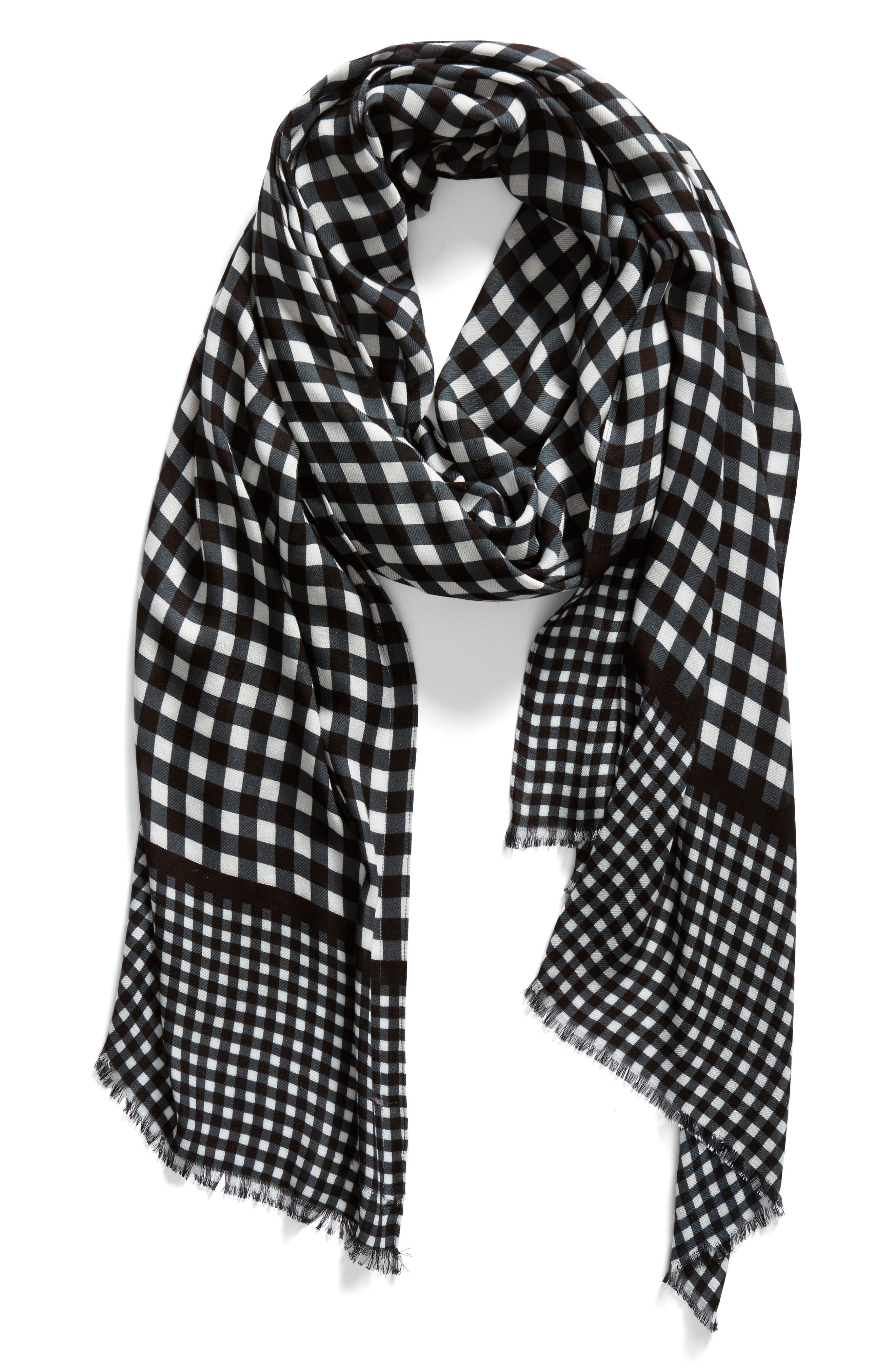 gingham scarf,                             Alternate thumbnail 2, color,                             Black
