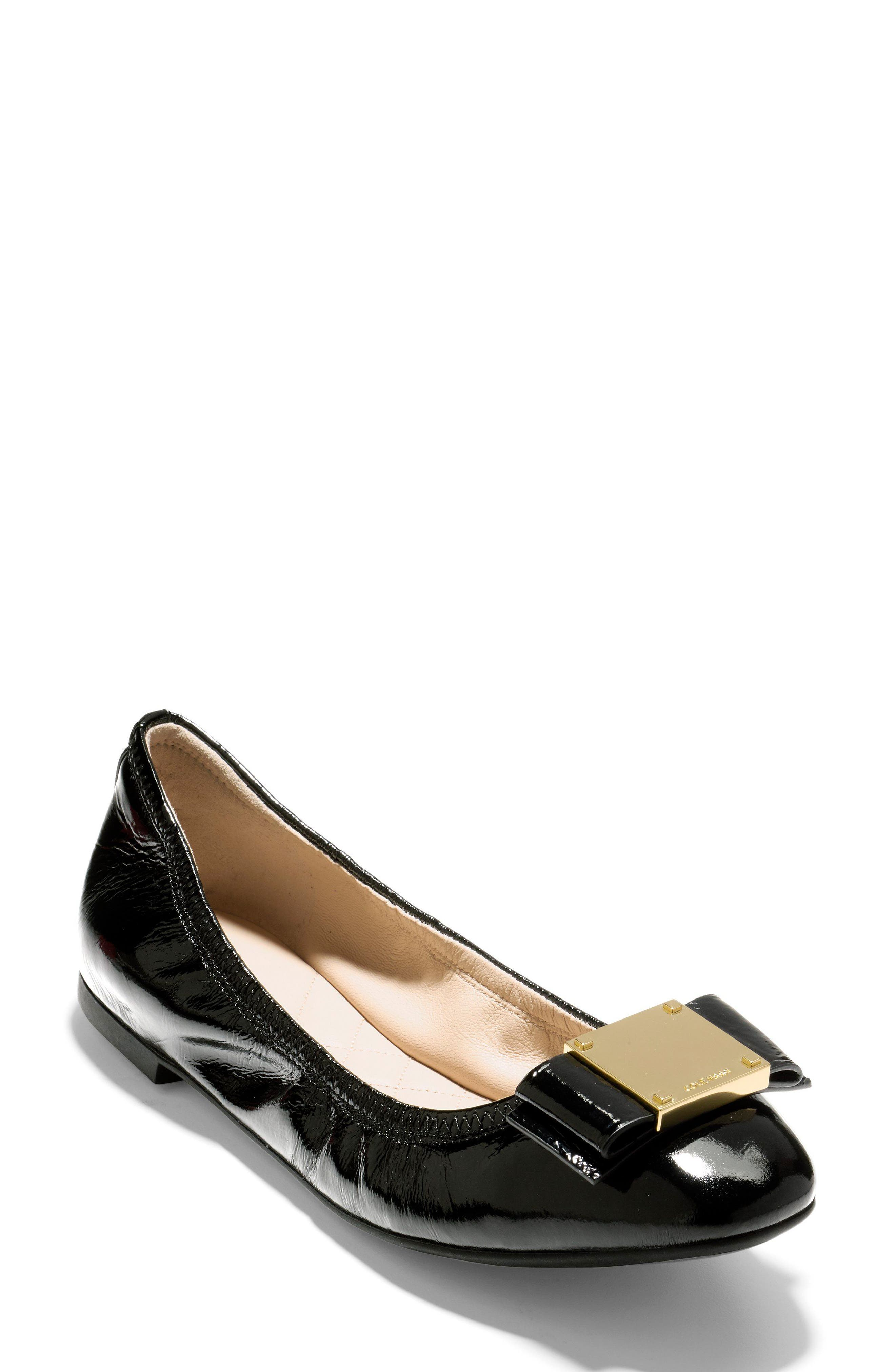 Tali Modern Bow Ballet Flat,                             Main thumbnail 1, color,                             Black Patent
