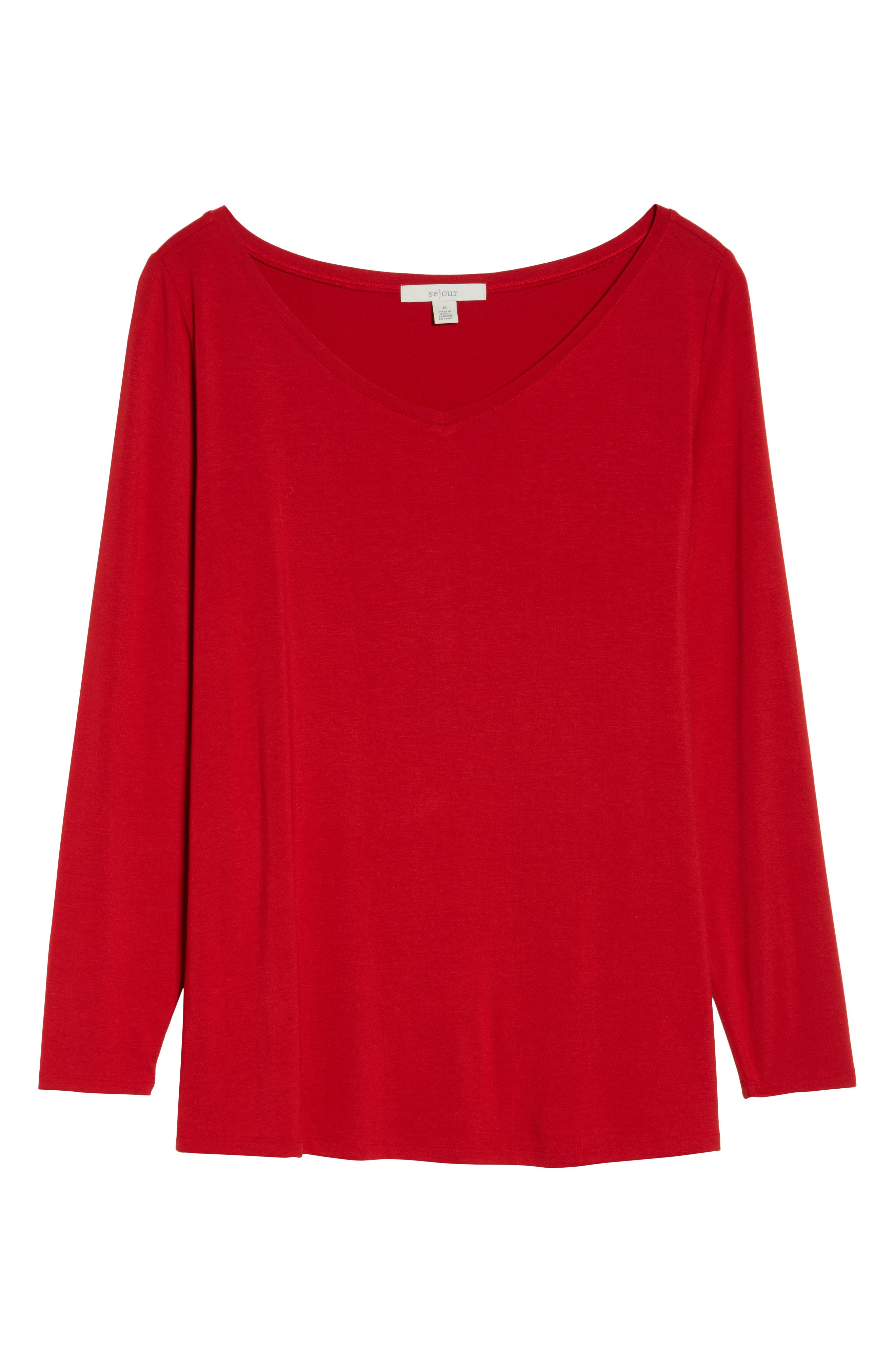 Wide V-Neck Tee,                             Alternate thumbnail 7, color,                             Red Couture