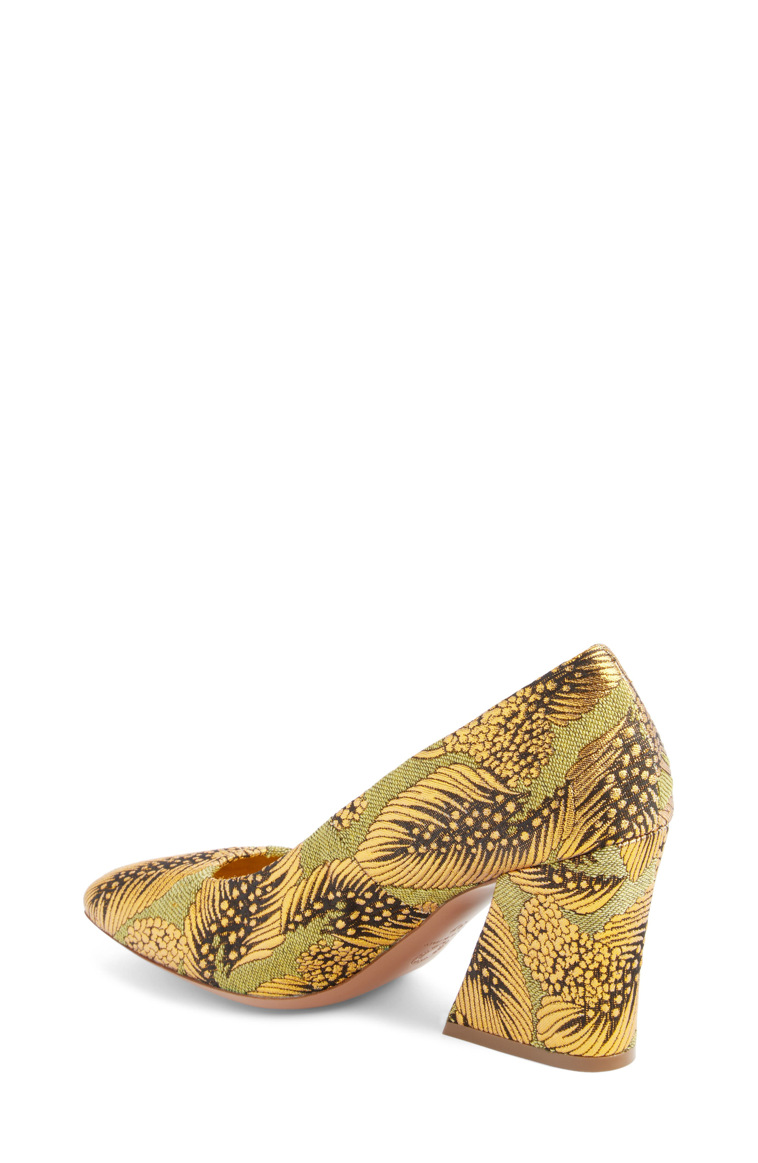 Leaf Print Angle Heel Pump,                             Alternate thumbnail 2, color,                             Gold