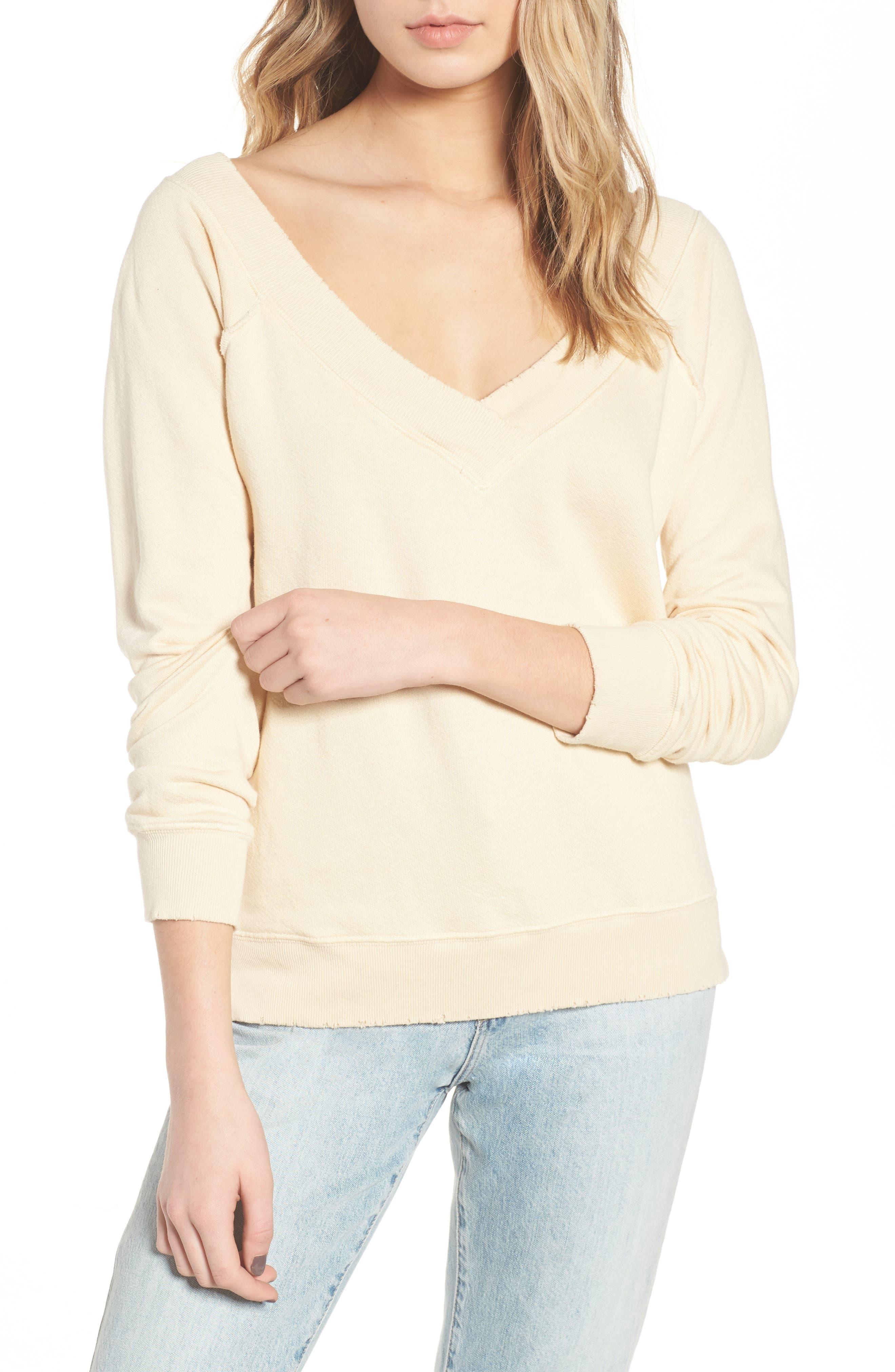 Mayer V-Neck Sweatshirt,                             Main thumbnail 1, color,                             Citrus Dust