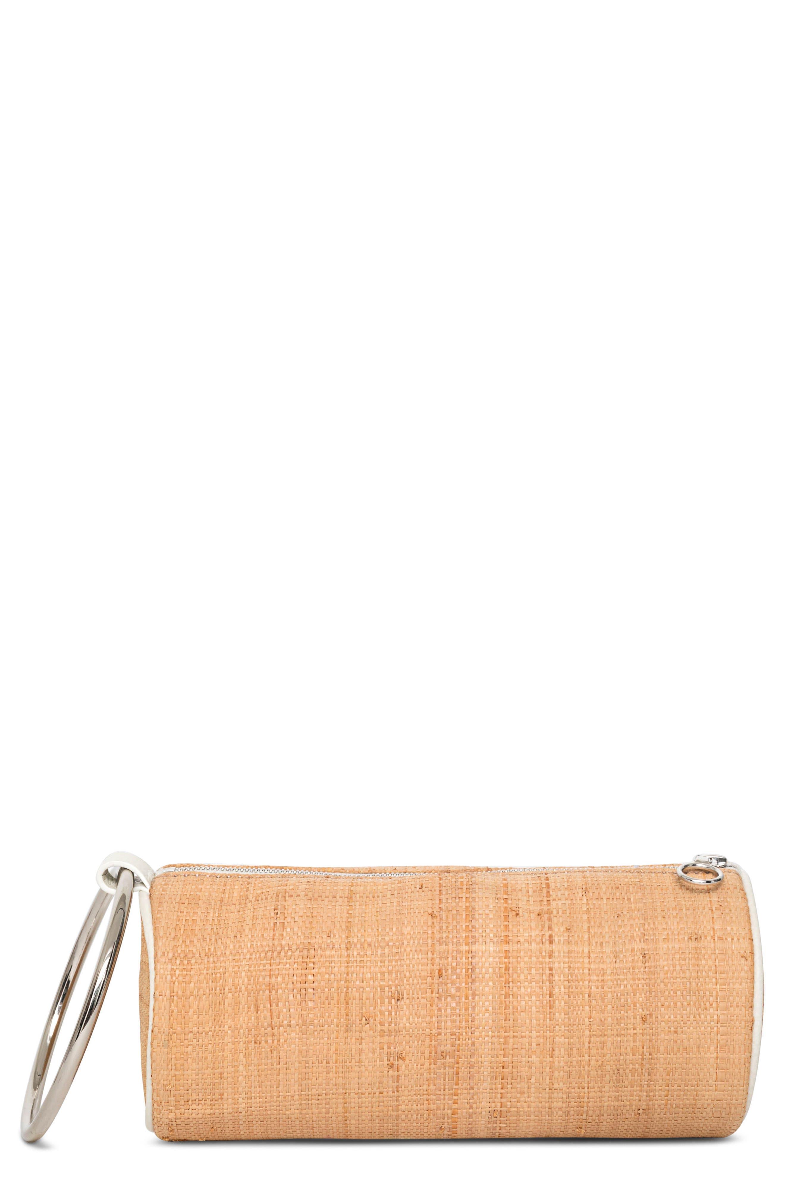 Straw Duffel Wristlet Clutch,                         Main,                         color, Natural