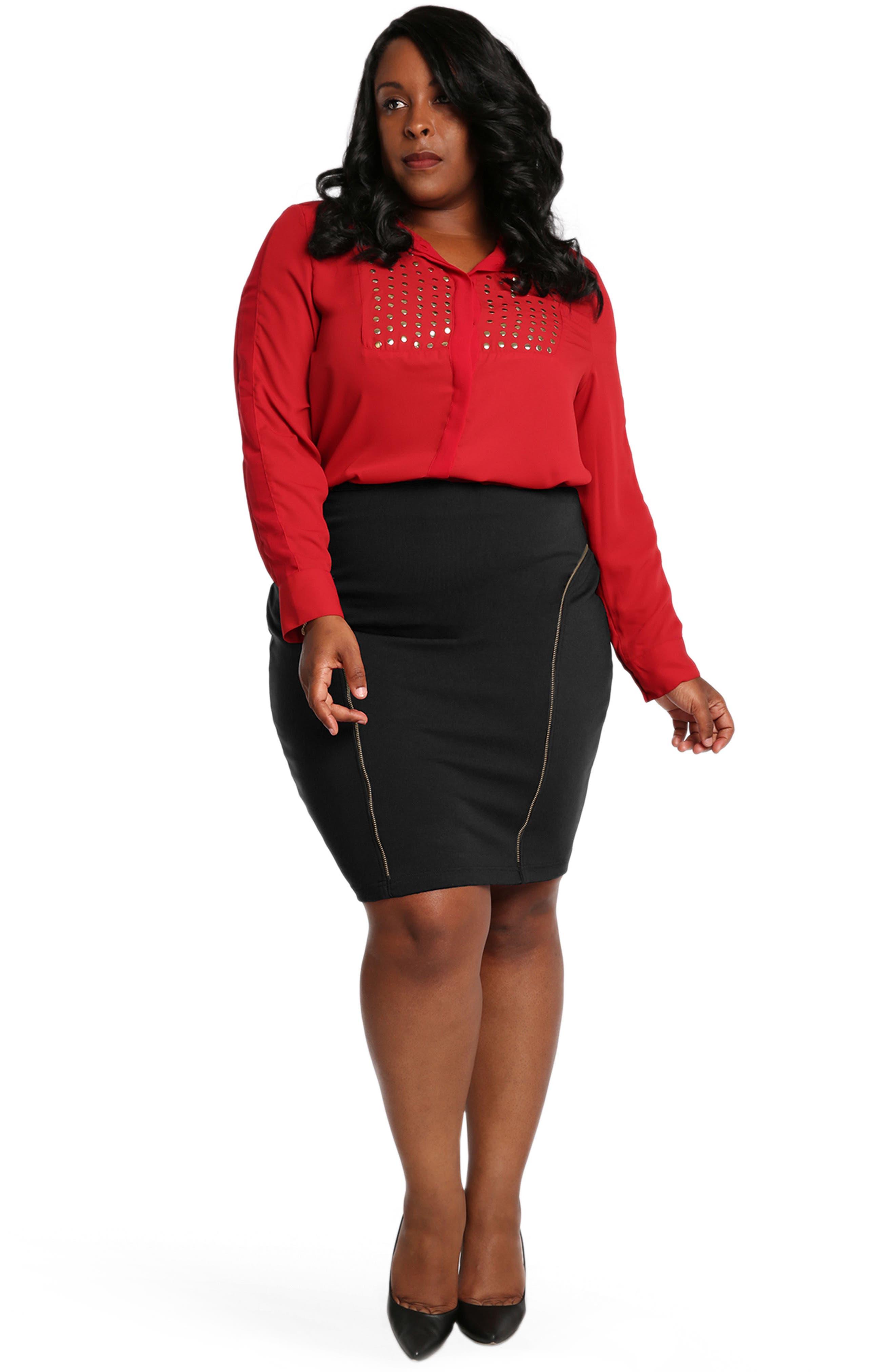 Main Image - Poetic Justice Tiffy Ponte Knit Pencil Skirt (Plus Size)