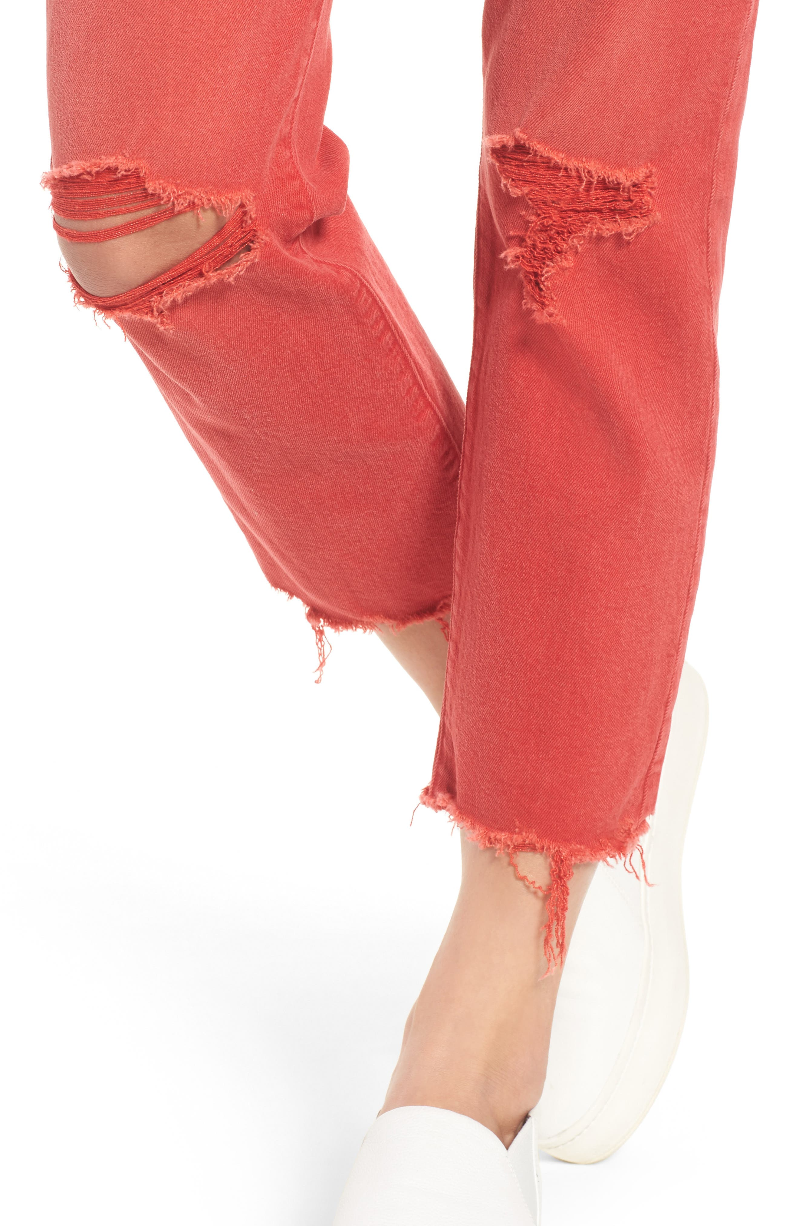 Zoeey Crop Straight Leg Jeans,                             Alternate thumbnail 4, color,                             Red Alert