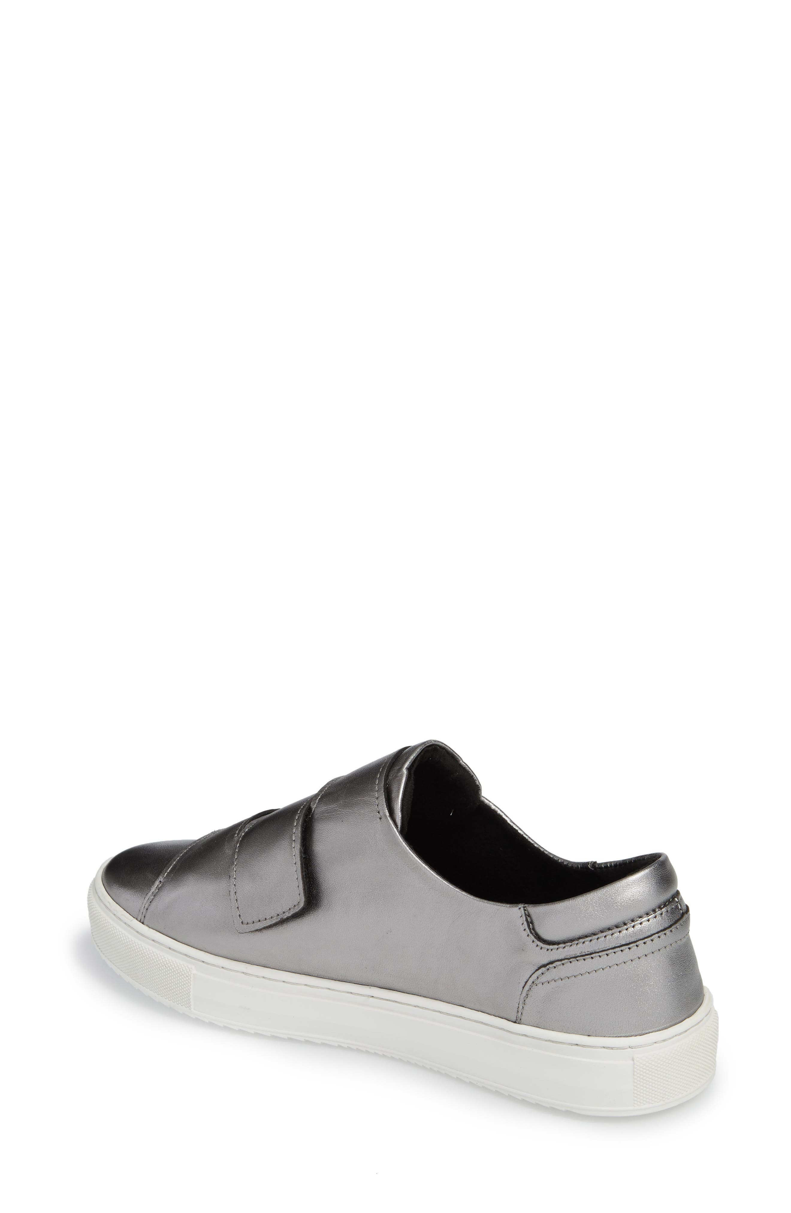 Rollover Alternating Strap Sneaker,                             Alternate thumbnail 2, color,                             Pewter Leather