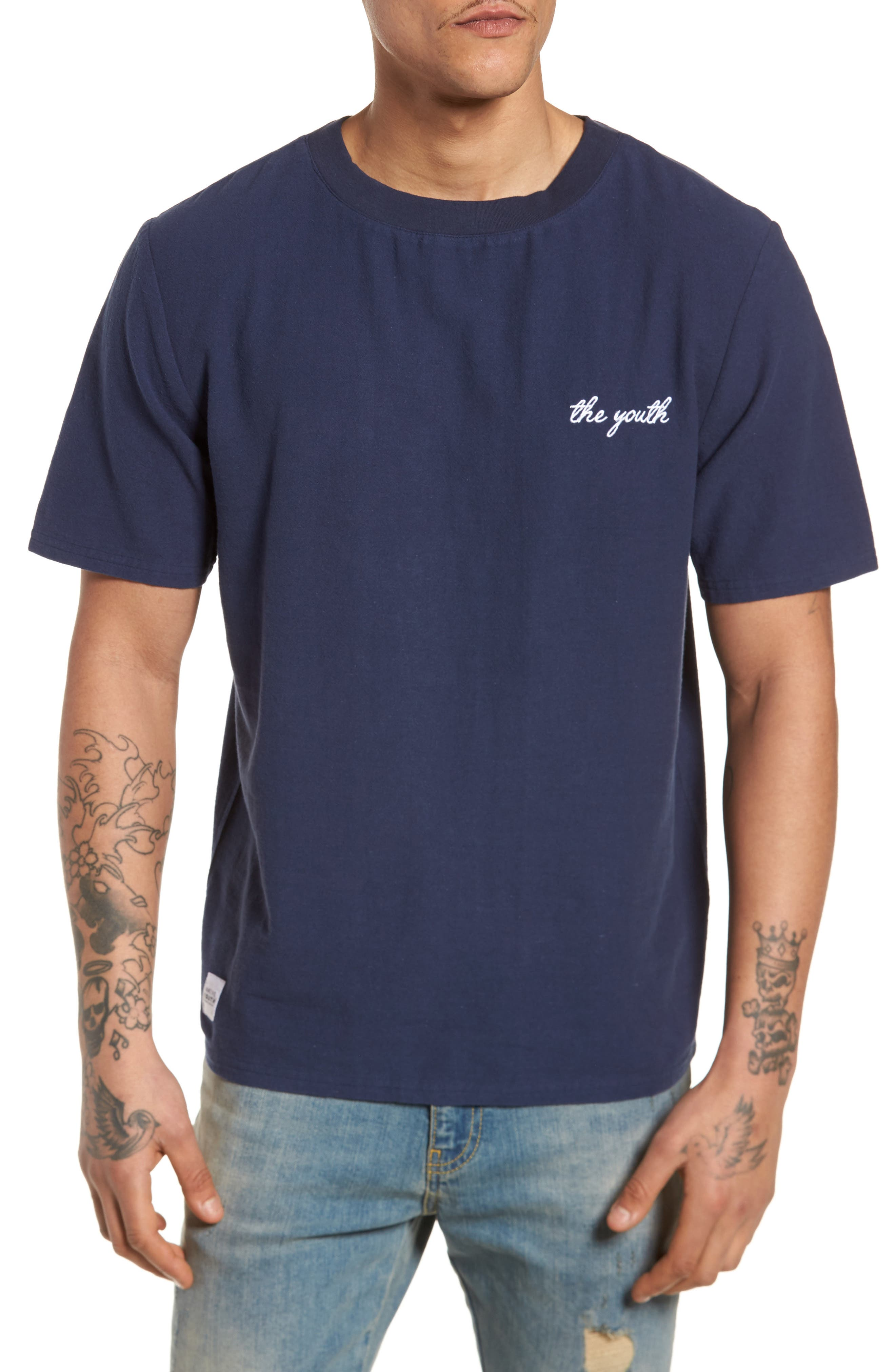 Broads Woven T-Shirt,                         Main,                         color, Navy
