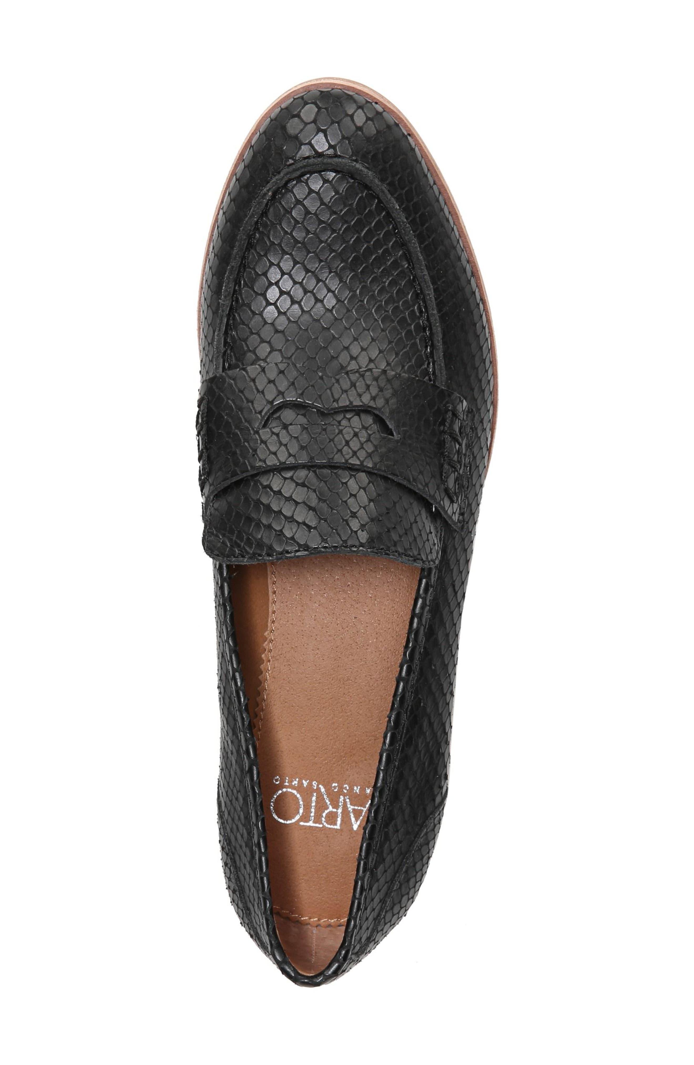 'Jolette' Penny Loafer,                             Alternate thumbnail 5, color,                             Black Printed Leather