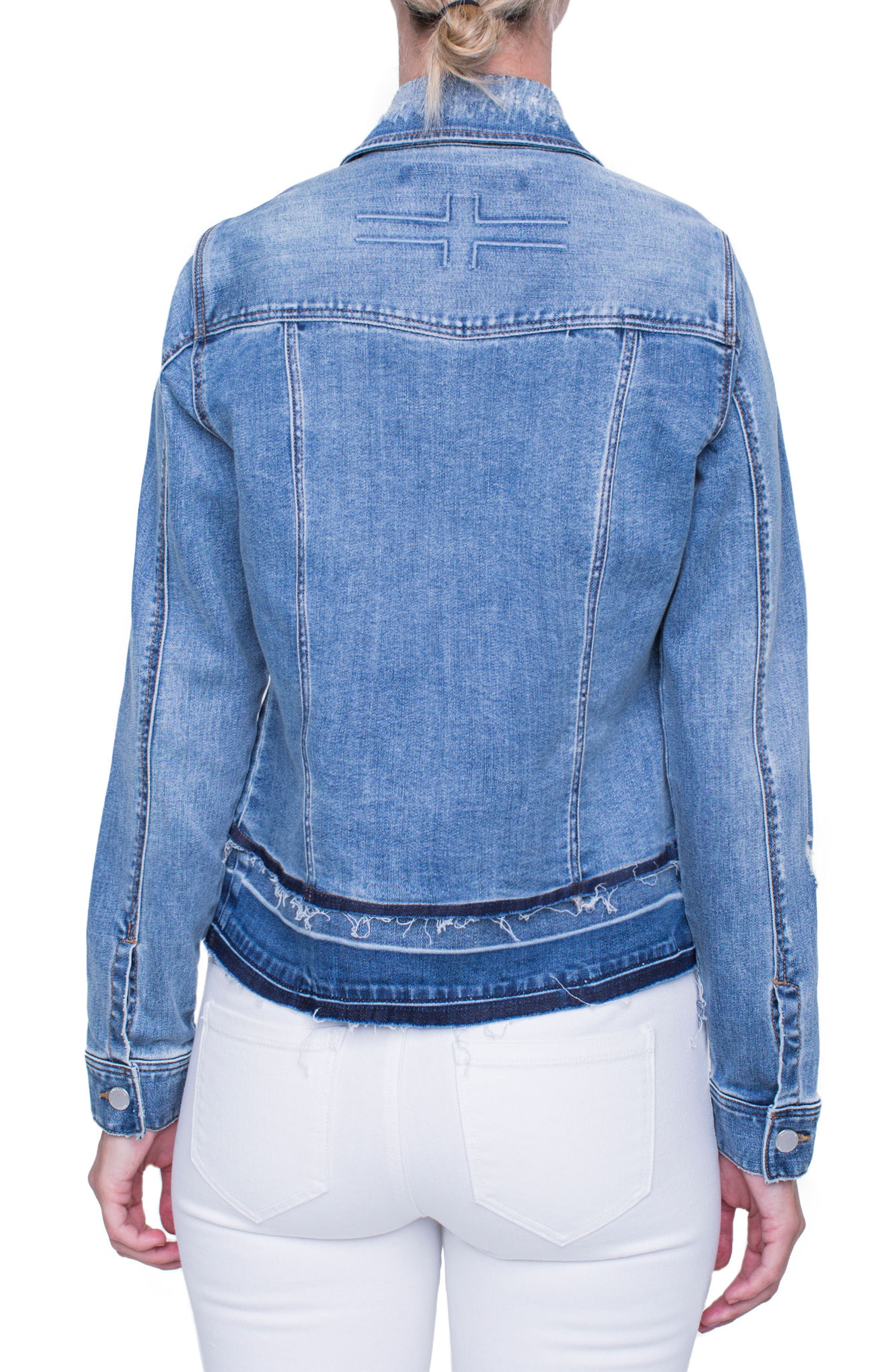 Tiered Hem Denim Jacket,                             Alternate thumbnail 2, color,                             Blue