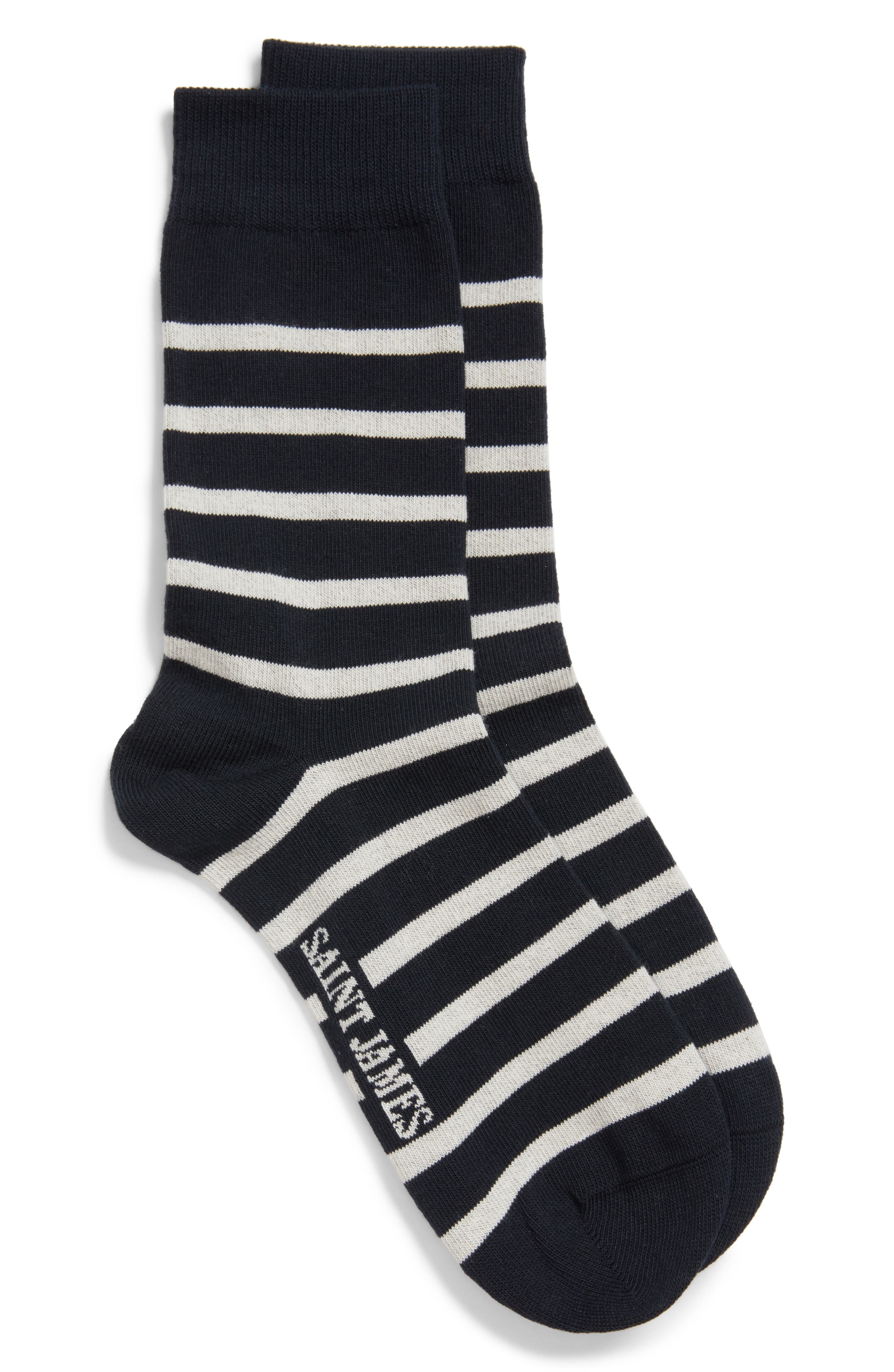 'Pieds Rayes A' Striped Socks,                             Main thumbnail 1, color,                             Navy/ White