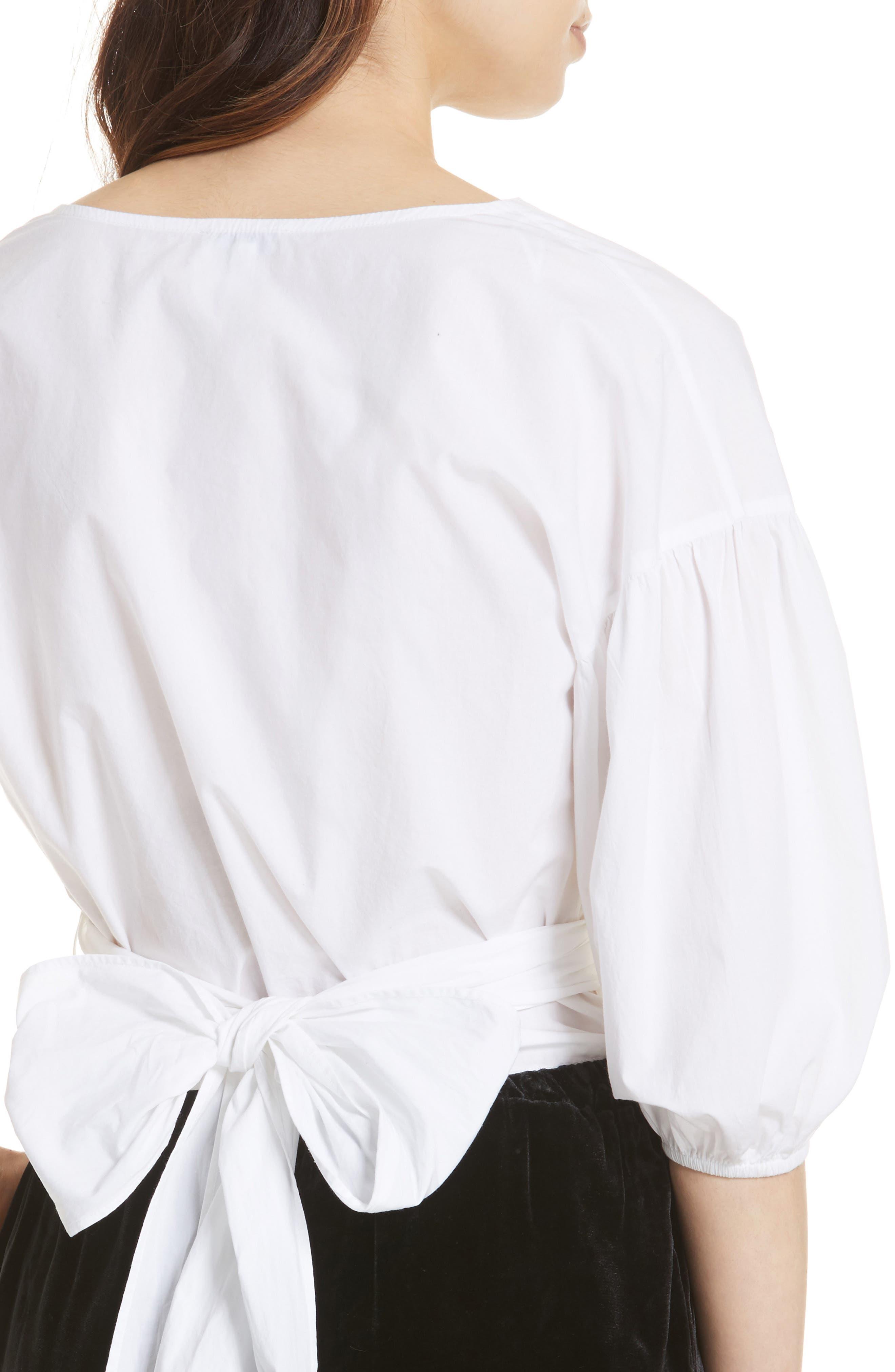 Hausu Bow Back Blouse,                             Alternate thumbnail 4, color,                             Clean White