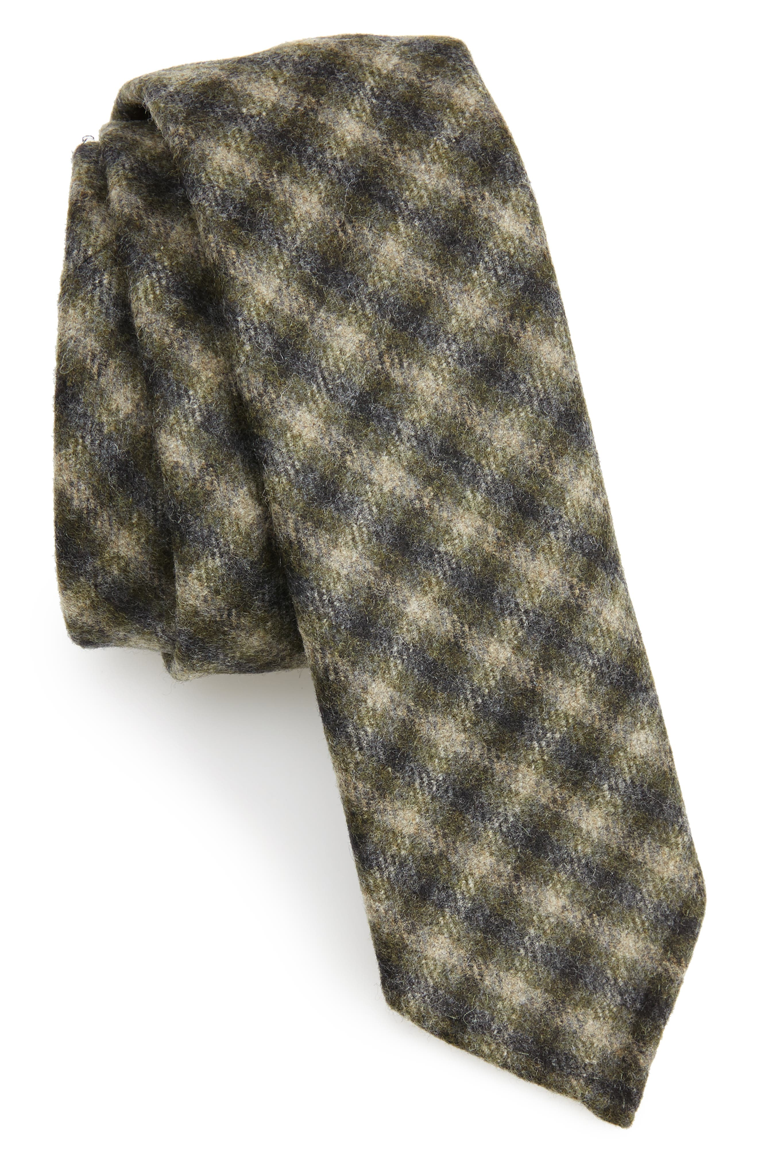 Glencheck Wool Skinny Tie,                         Main,                         color, Open Green
