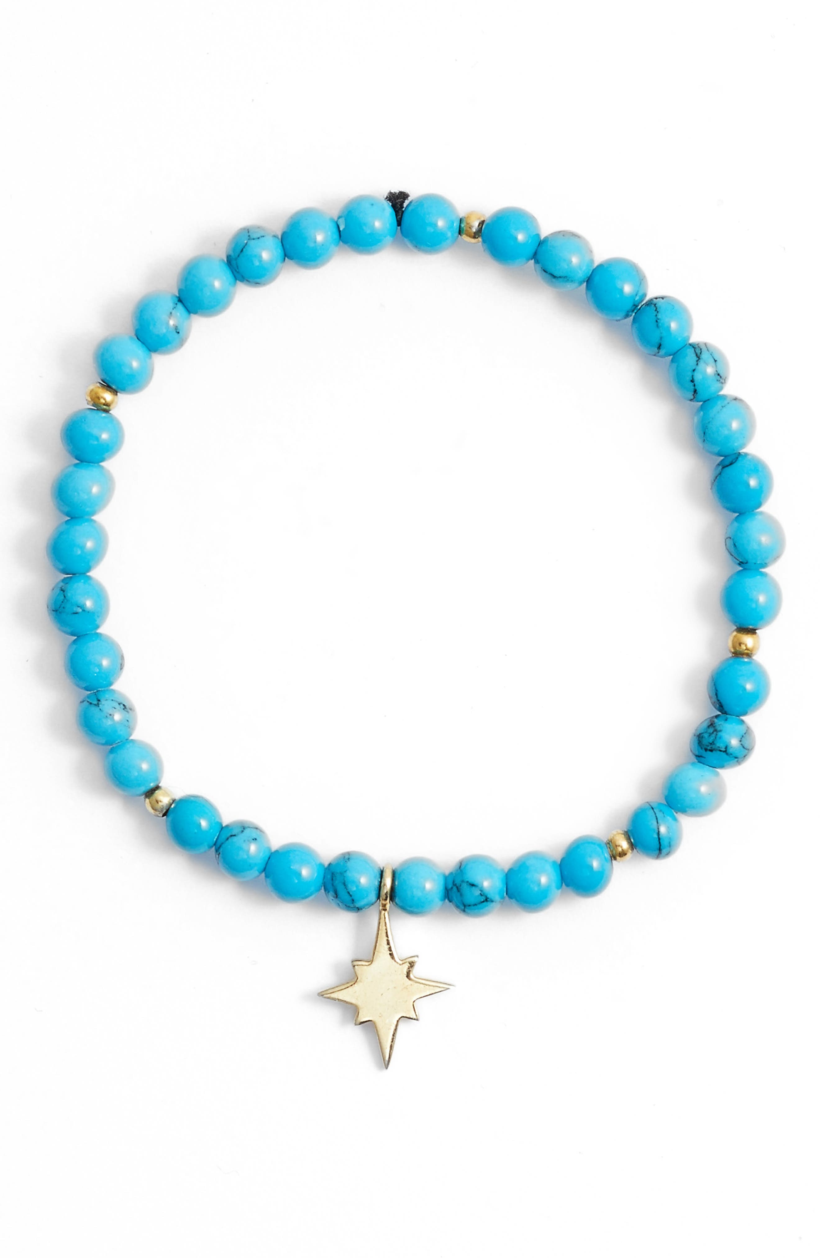Pavé Disc Beaded Stretch Bracelet,                             Main thumbnail 1, color,                             Gold/ Turquoise-Star