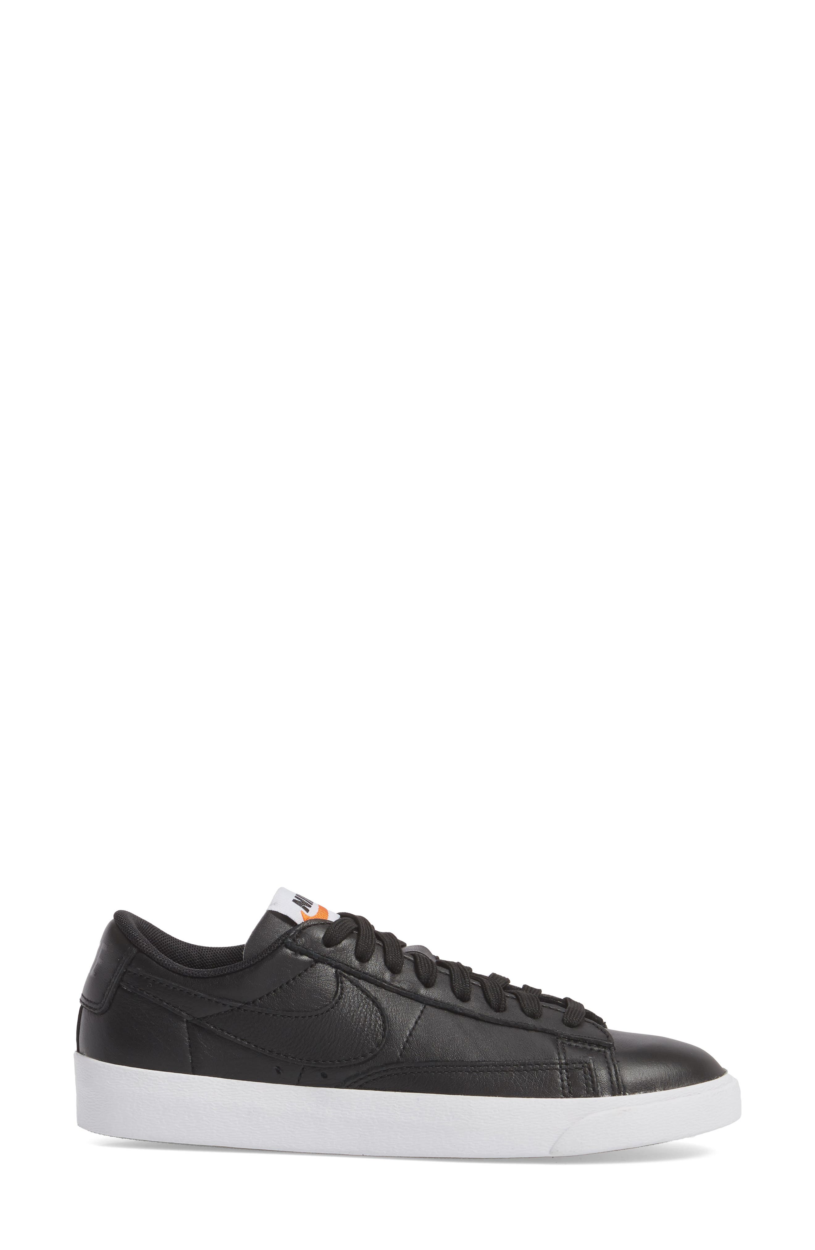 Blazer Low LE Basketball Shoe,                             Alternate thumbnail 3, color,                             Black/ Black/ White