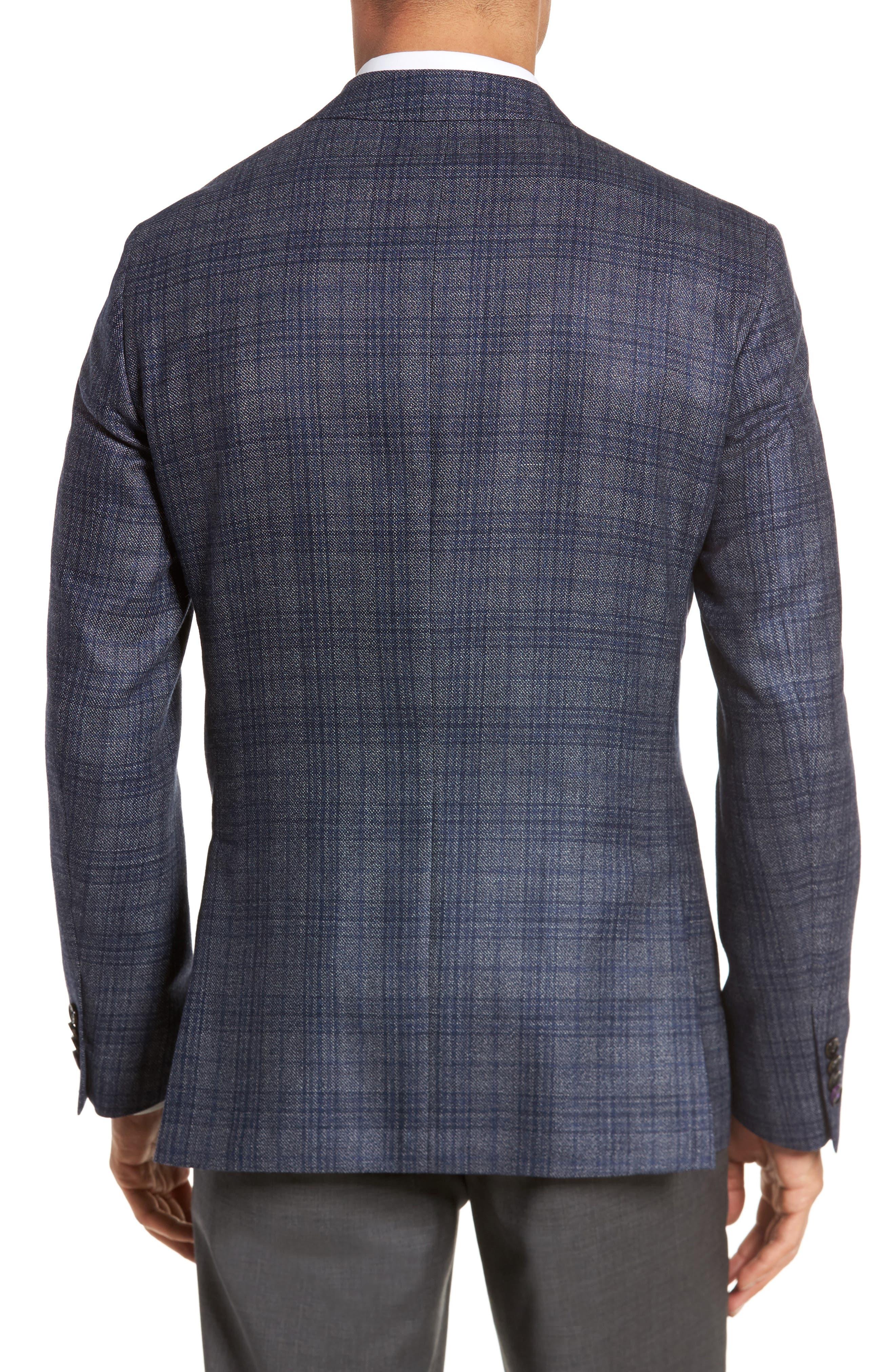 Kyle Trim Fit Plaid Silk & Wool Sport Coat,                             Alternate thumbnail 2, color,                             Grey