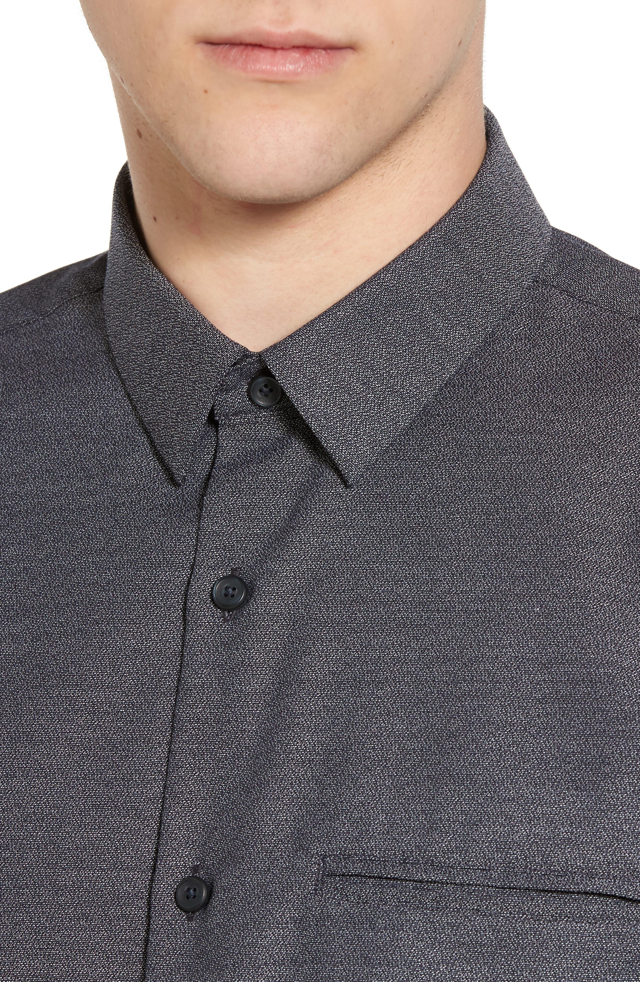 Trim Fit Jaspé Short Sleeve Sport Shirt,                             Alternate thumbnail 2, color,                             Navy Night Jacquard