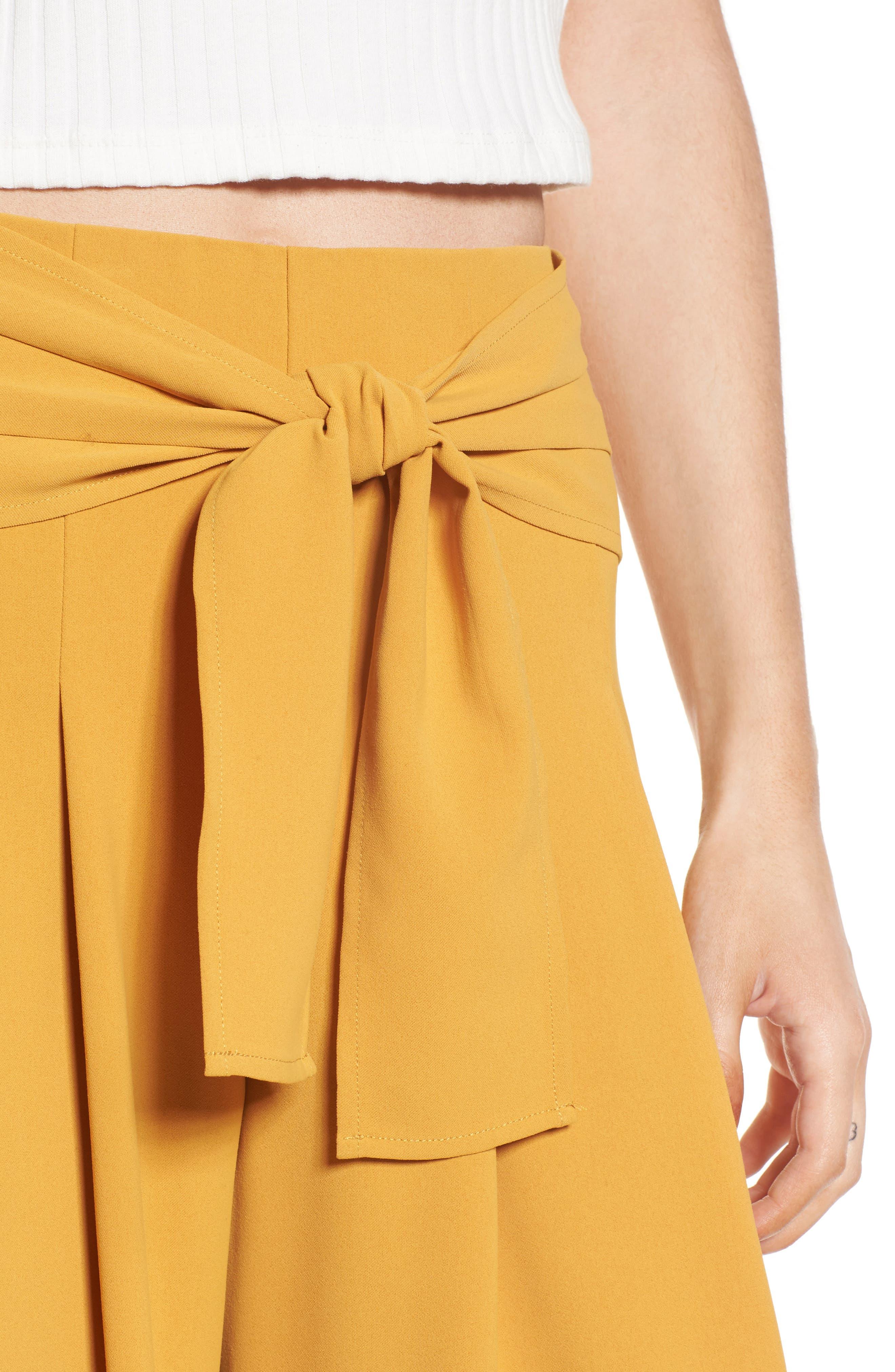 Crop Tie Waist Pants,                             Alternate thumbnail 6, color,                             Marigold