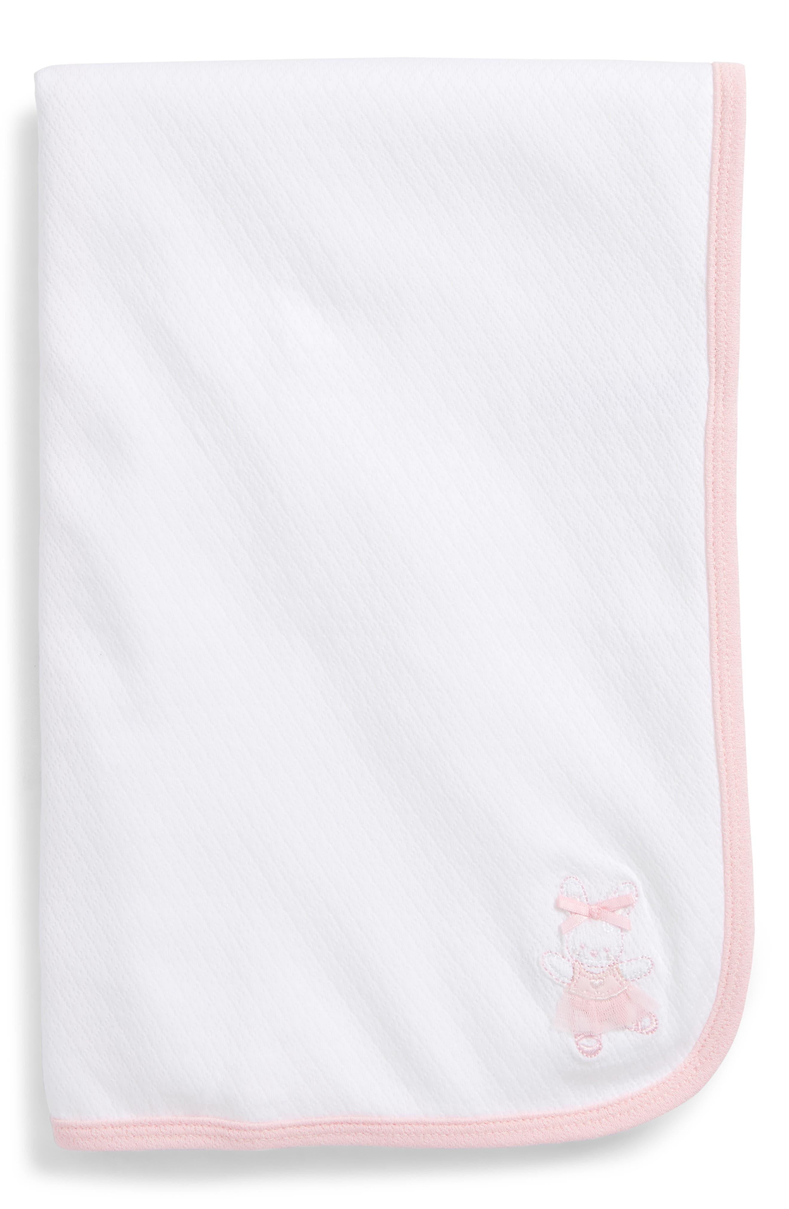 Ballet Bunny Receiving Blanket,                         Main,                         color, White