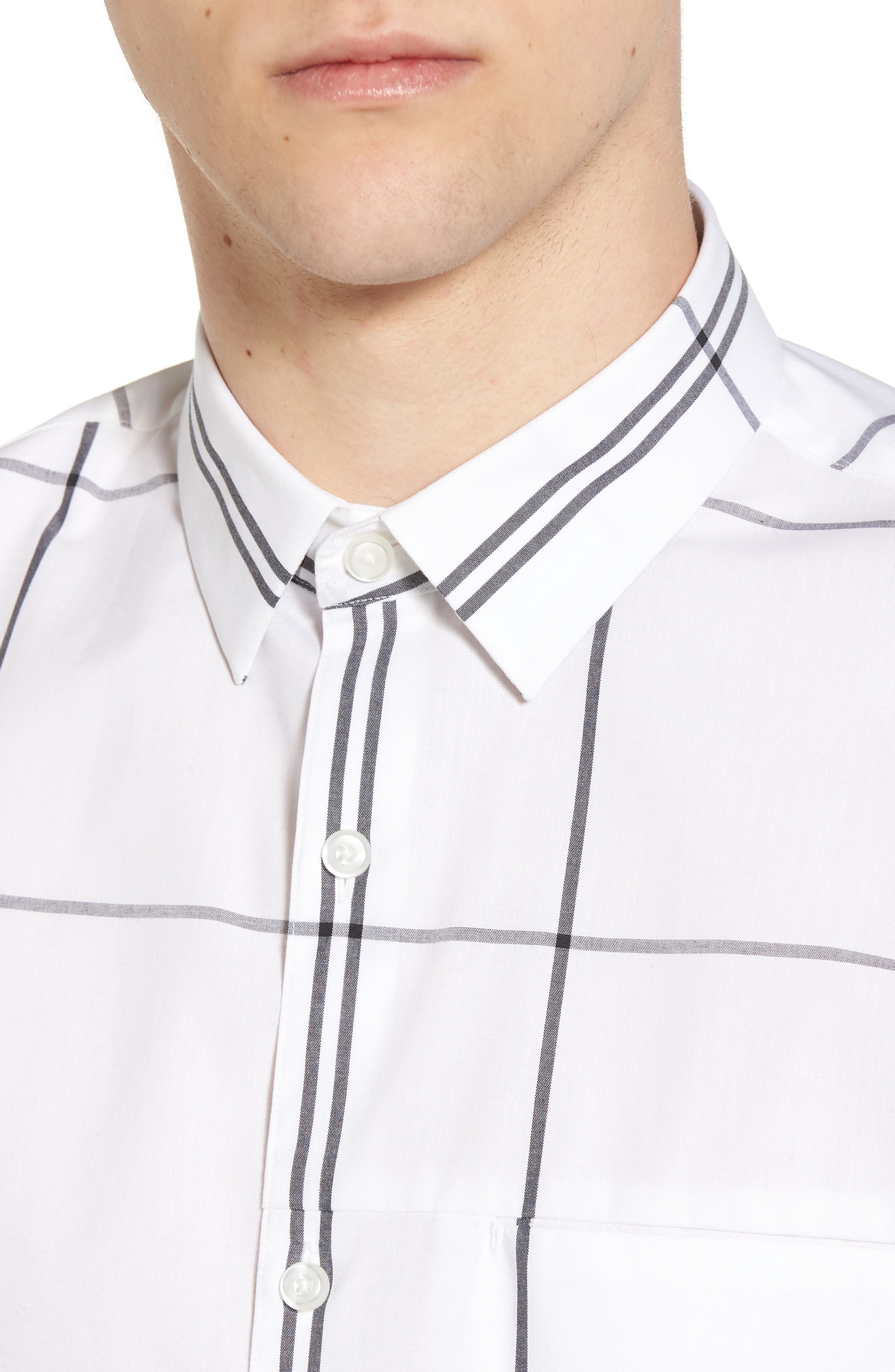 Windowpane Sport Shirt,                             Alternate thumbnail 2, color,                             White Exploded Plaid