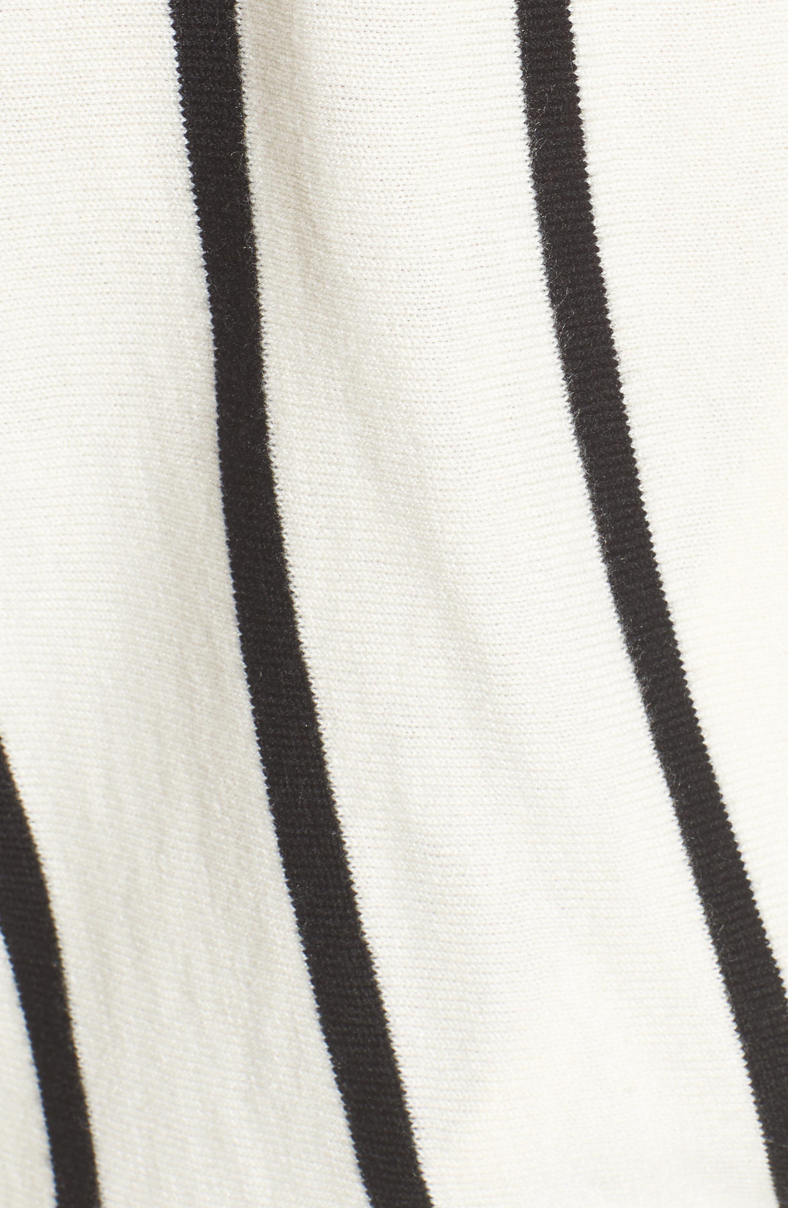 Vertical Stripe Sweater,                             Alternate thumbnail 5, color,                             Ivory/ Black Becky Stripe