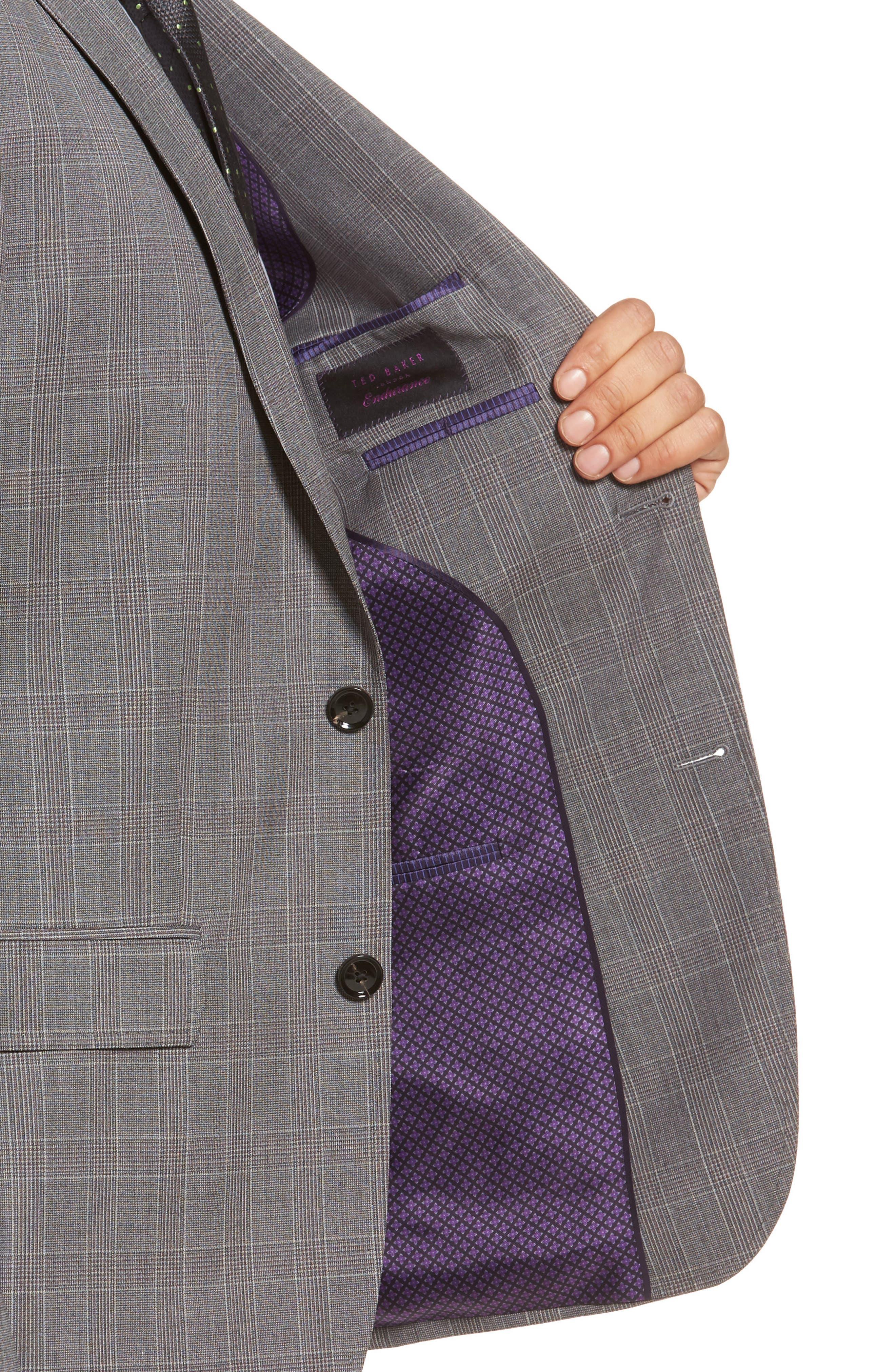 Jay Trim Fit Plaid Wool Suit,                             Alternate thumbnail 4, color,                             Grey