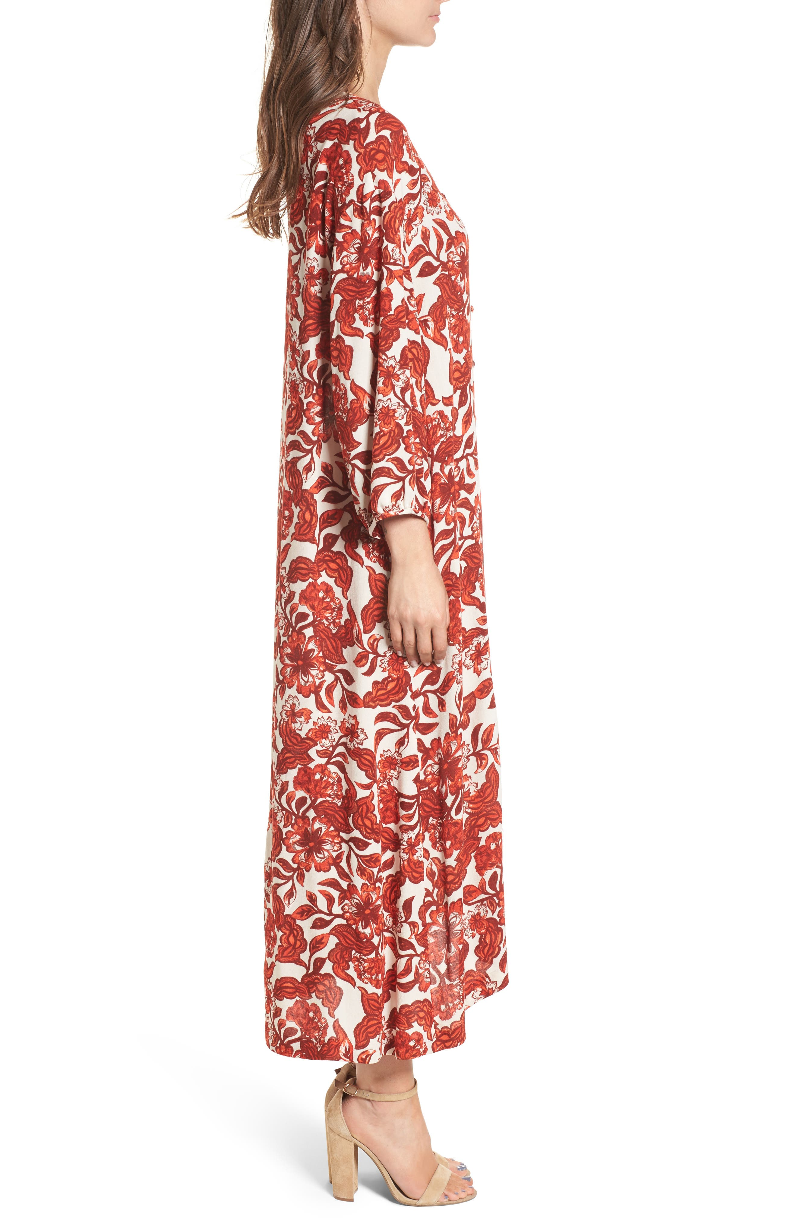 Floral Print Maxi Dress,                             Alternate thumbnail 3, color,                             Red Lava Snap Floral