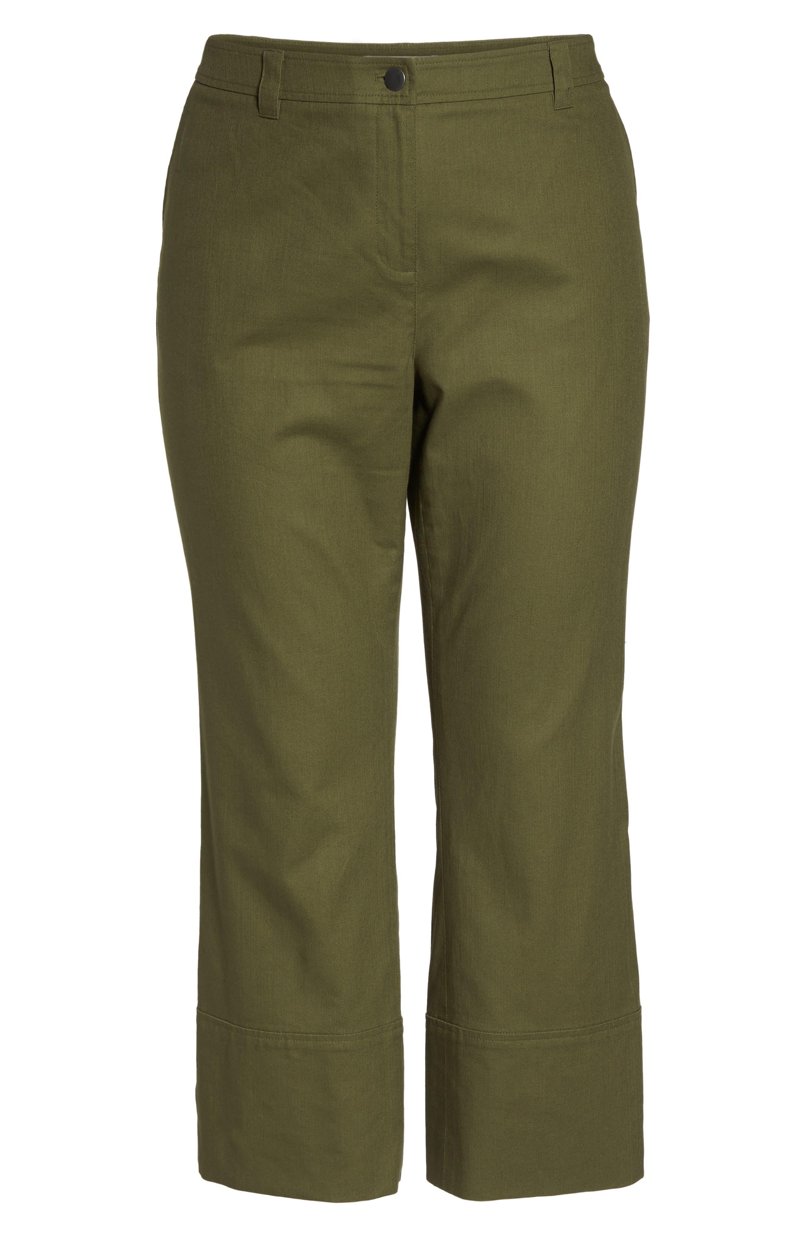 Wide Leg Ankle Pants,                             Alternate thumbnail 6, color,                             Olive Moss