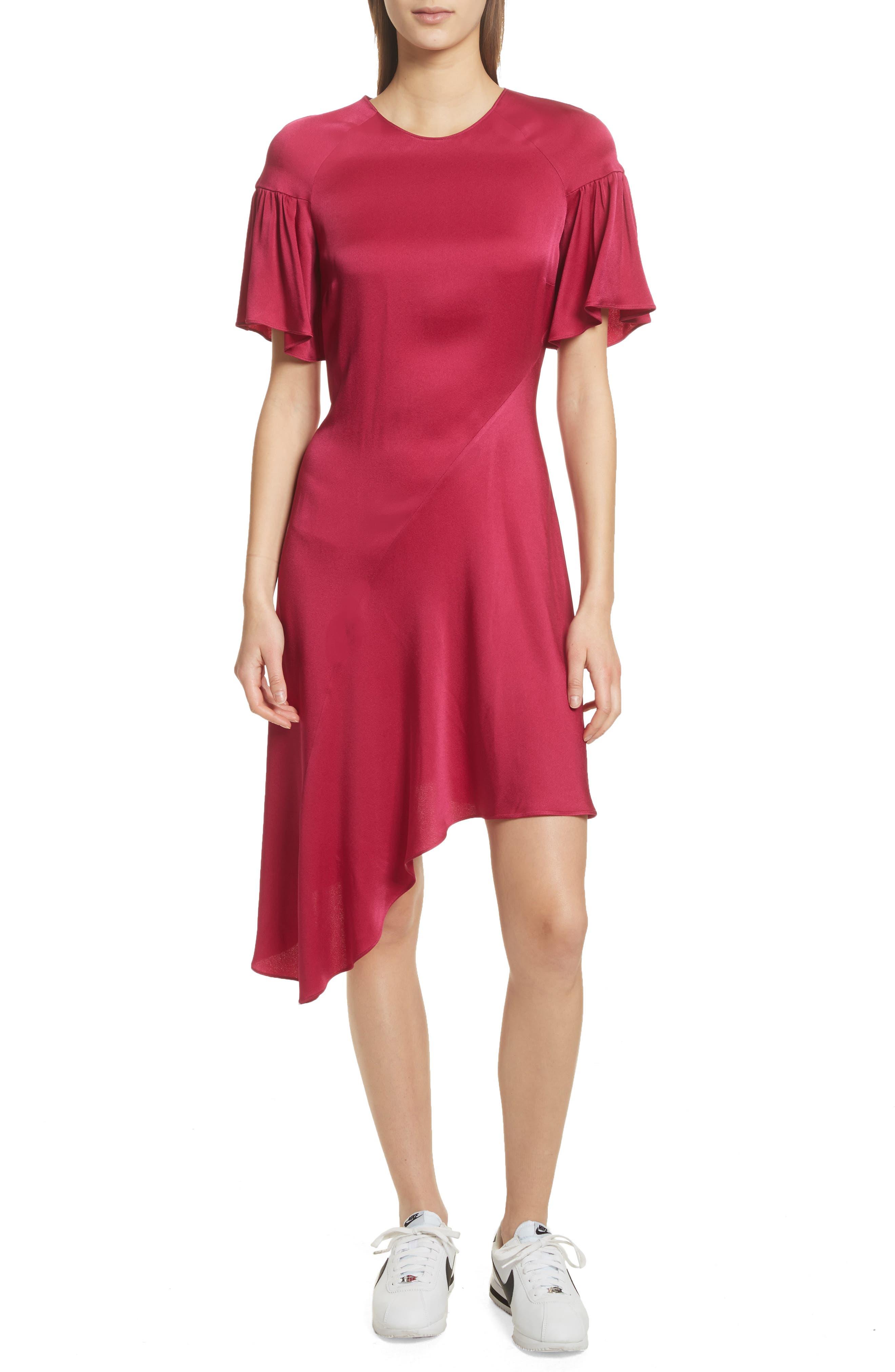 Tilly Asymmetrical Dress,                         Main,                         color, Berry
