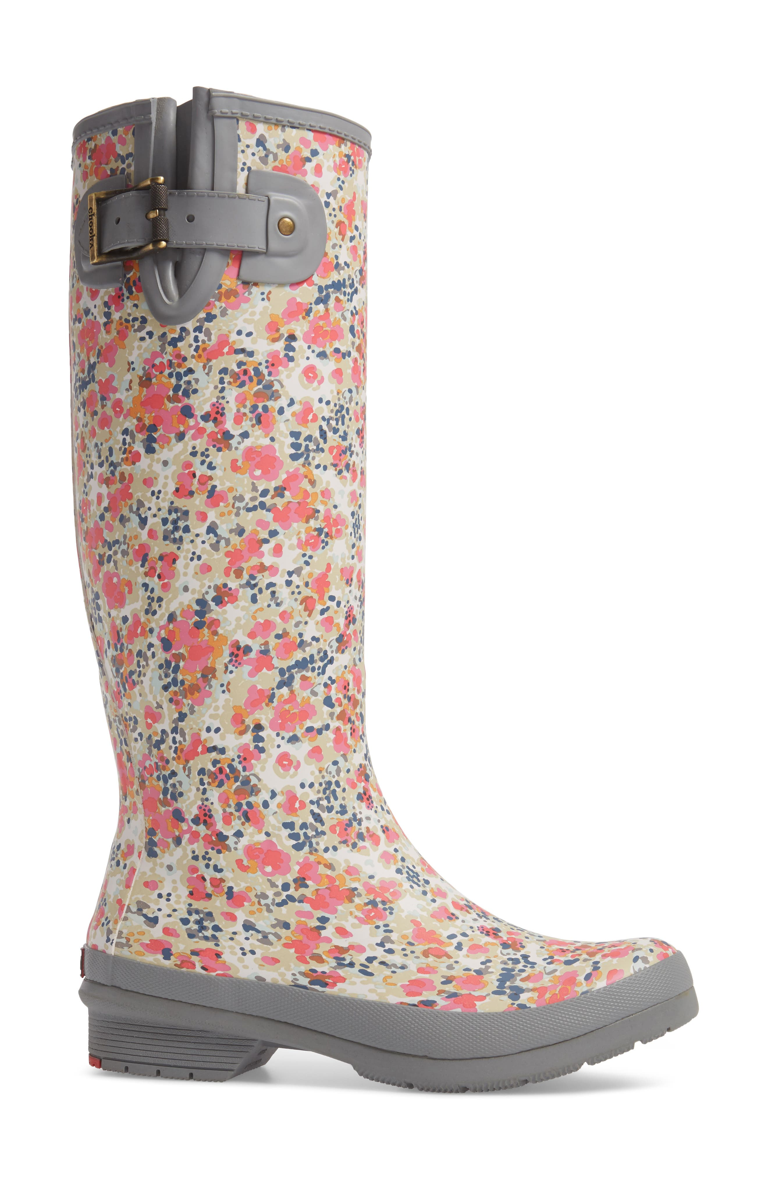 Julia Floral Waterproof Rain Boot,                             Alternate thumbnail 3, color,                             Gray