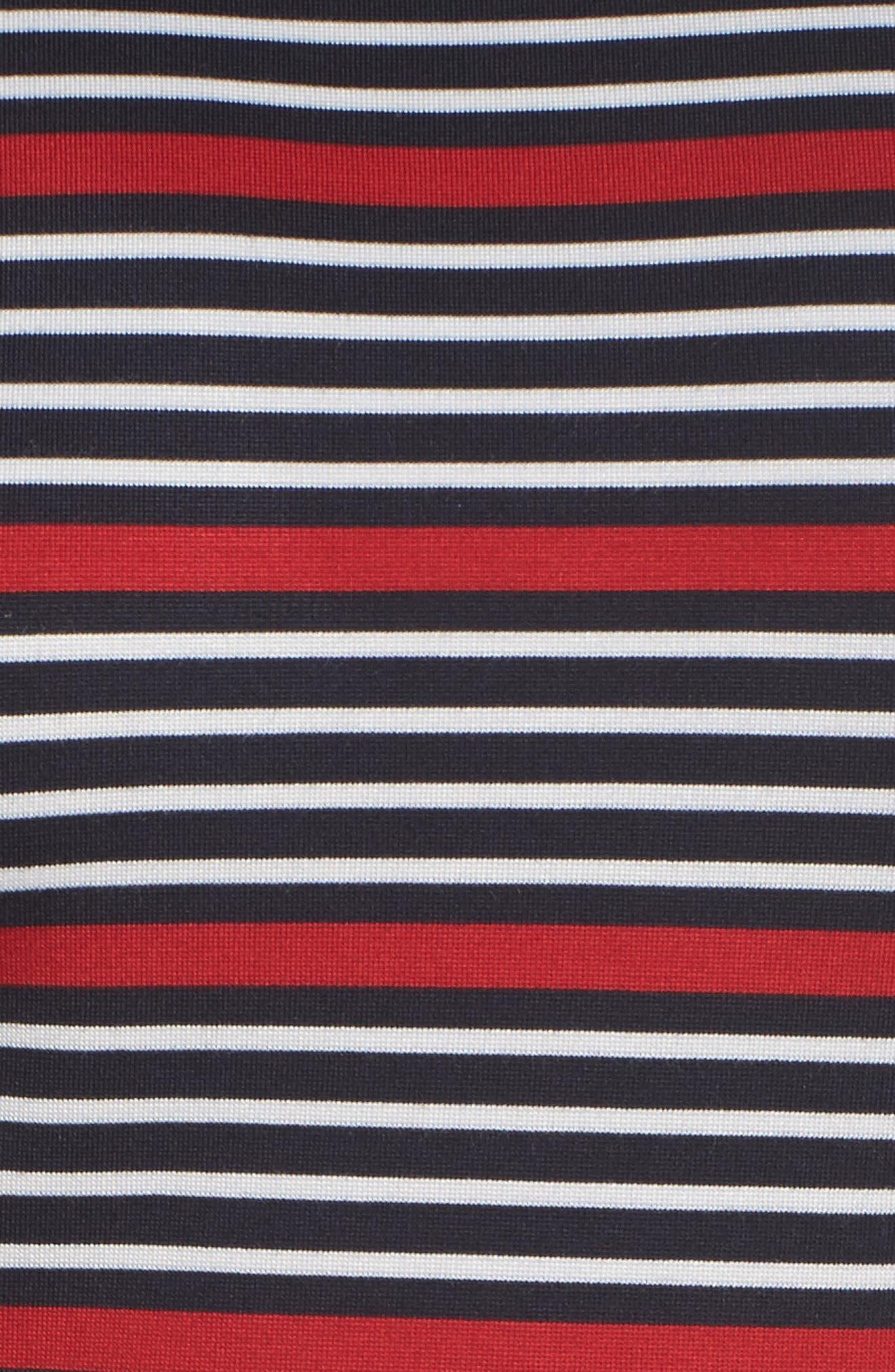 Scarlette Stripe Fit & Flare Dress,                             Alternate thumbnail 5, color,                             Navy/ Red/ White Stripe