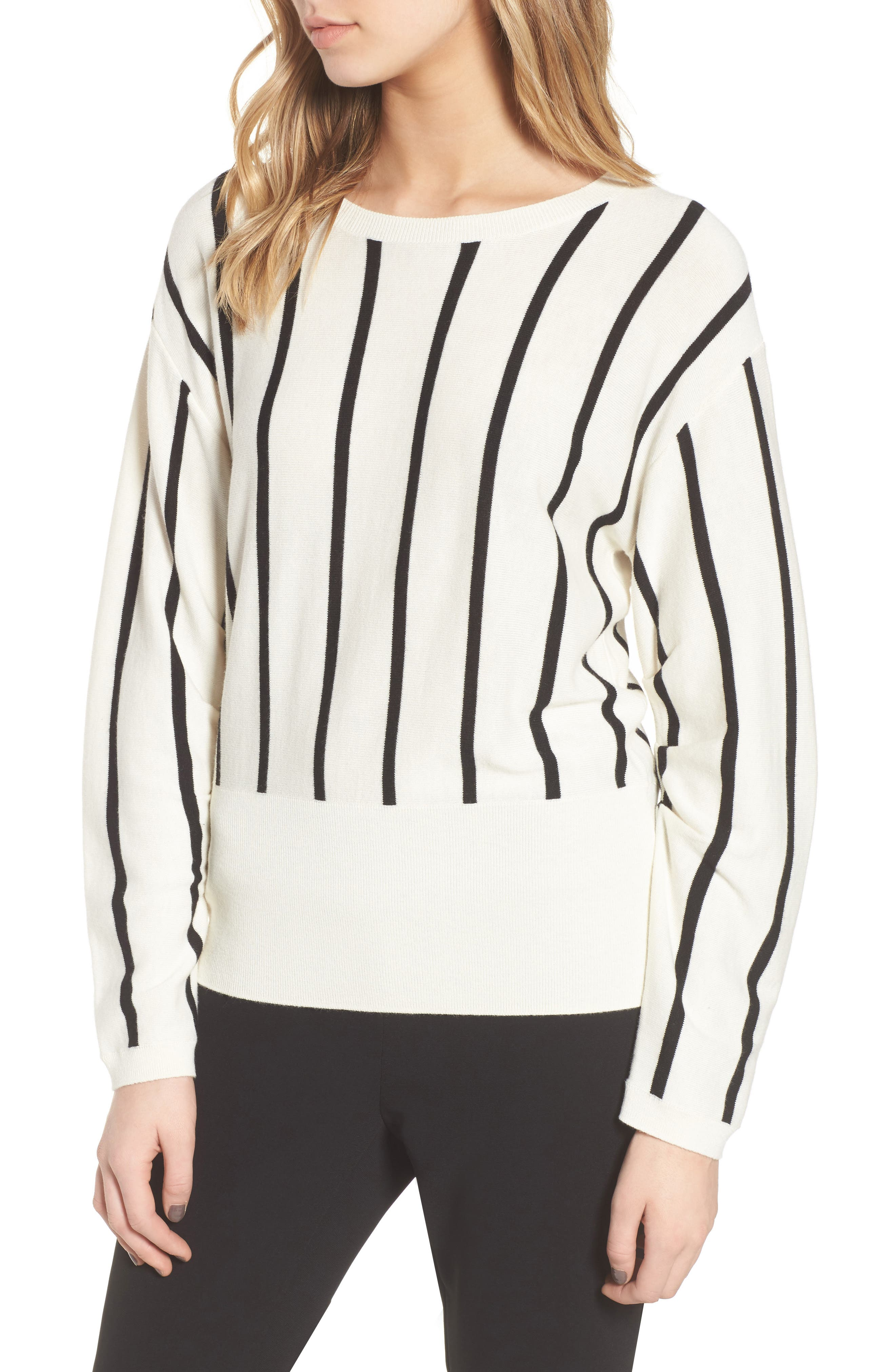 Vertical Stripe Sweater,                             Main thumbnail 1, color,                             Ivory/ Black Becky Stripe