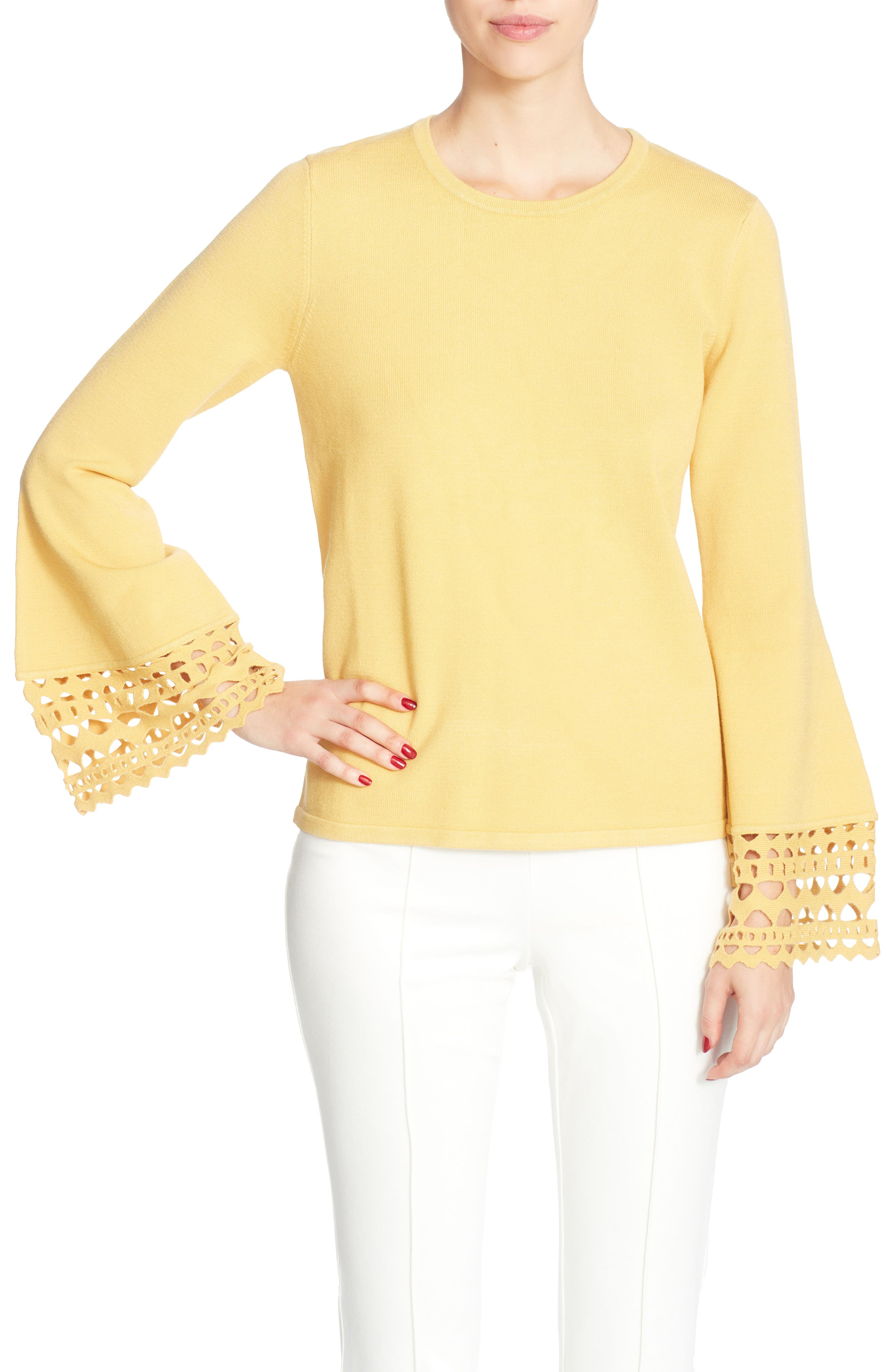Deco Bell Sleeve Sweater,                         Main,                         color, Yellow Ochre