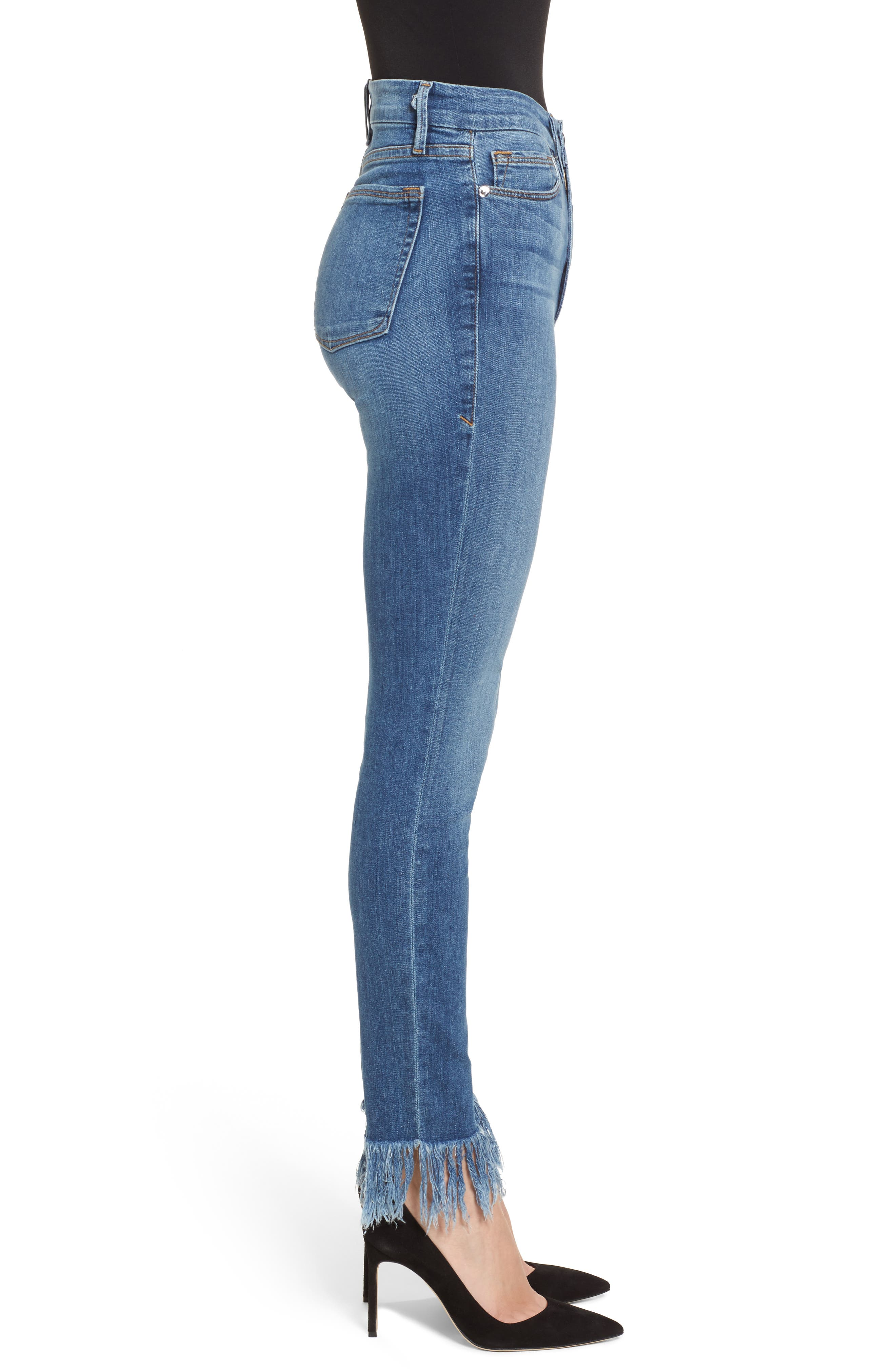 Good Waist Extreme Fray Skinny Jeans,                             Alternate thumbnail 3, color,                             Blue154