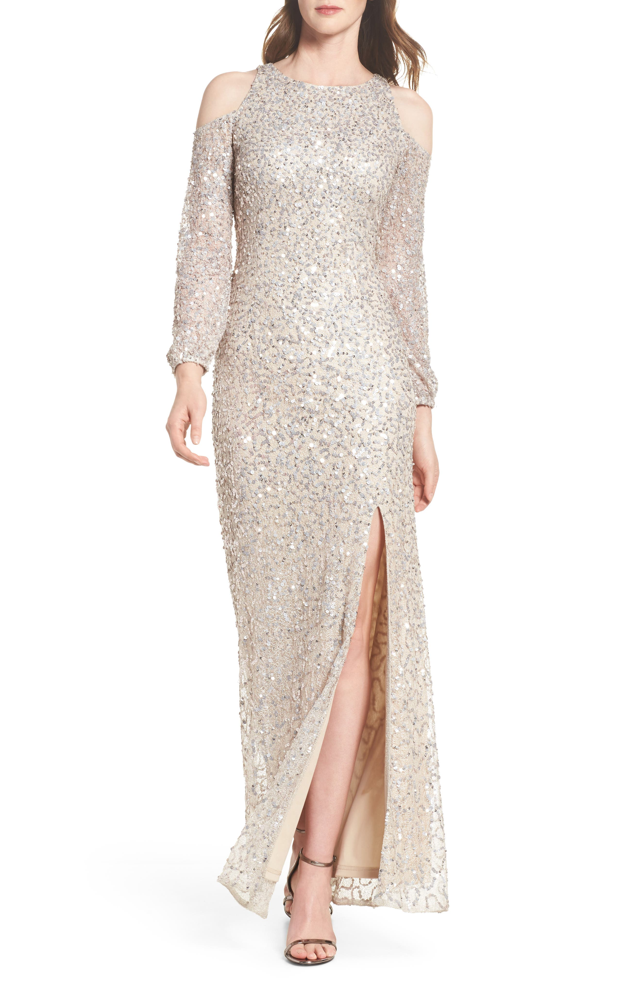 Sequin Cold Shoulder Gown,                         Main,                         color, Nude