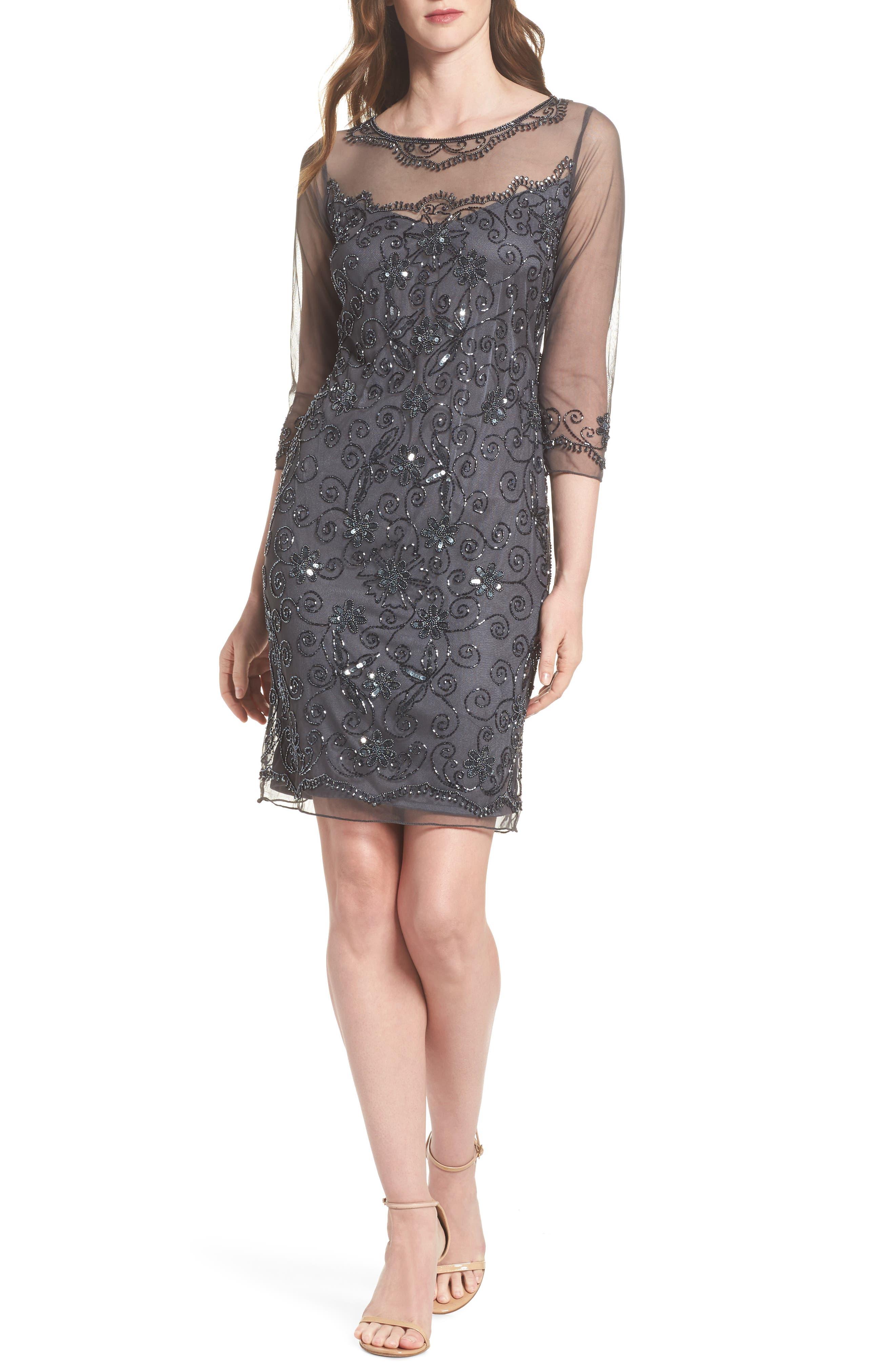 Beaded Mesh Sheath Dress,                         Main,                         color, Smoke