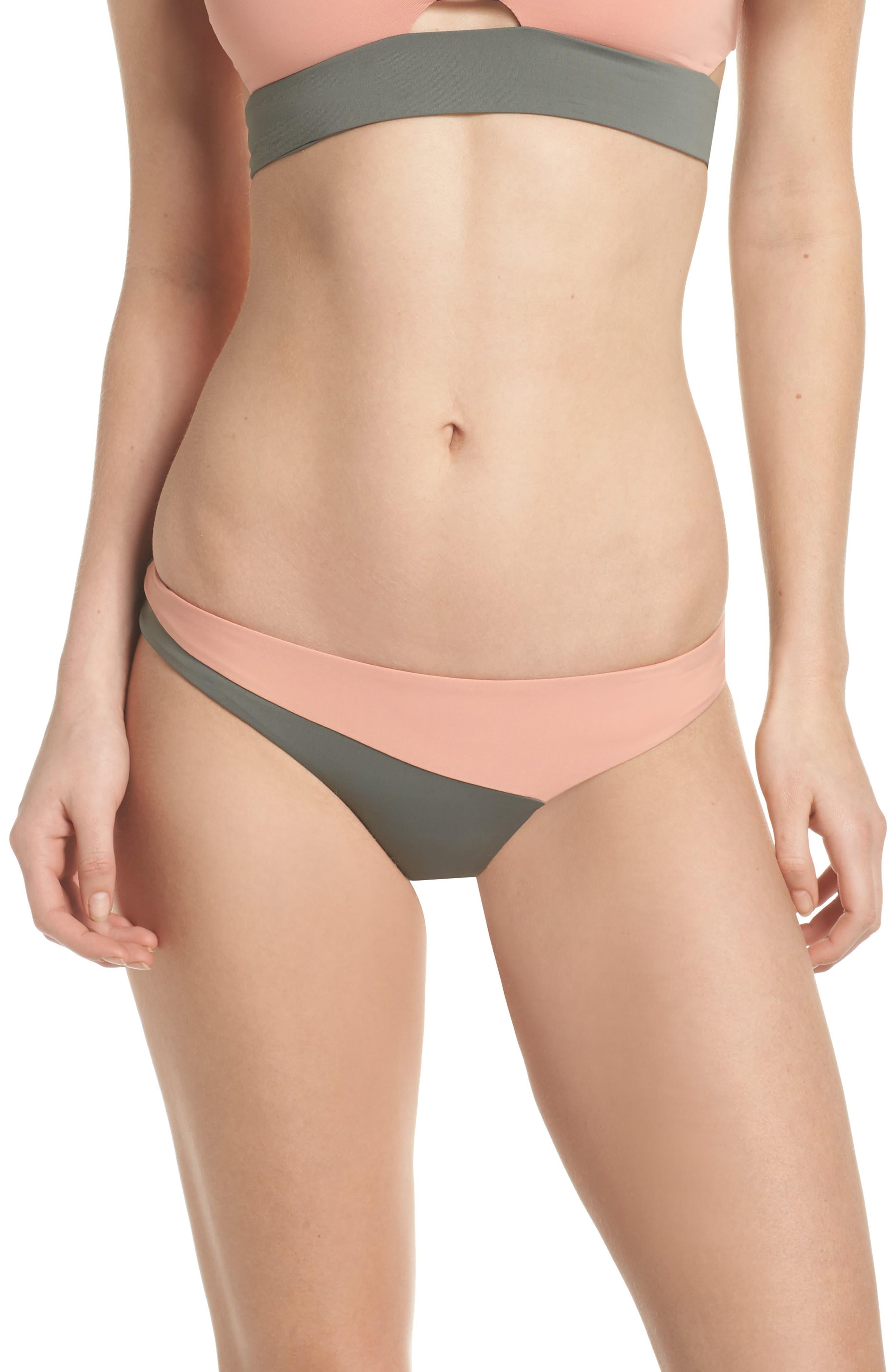 Jaclyn Hipster Bikini Bottoms,                         Main,                         color, Desert Clay/ Cove Grey