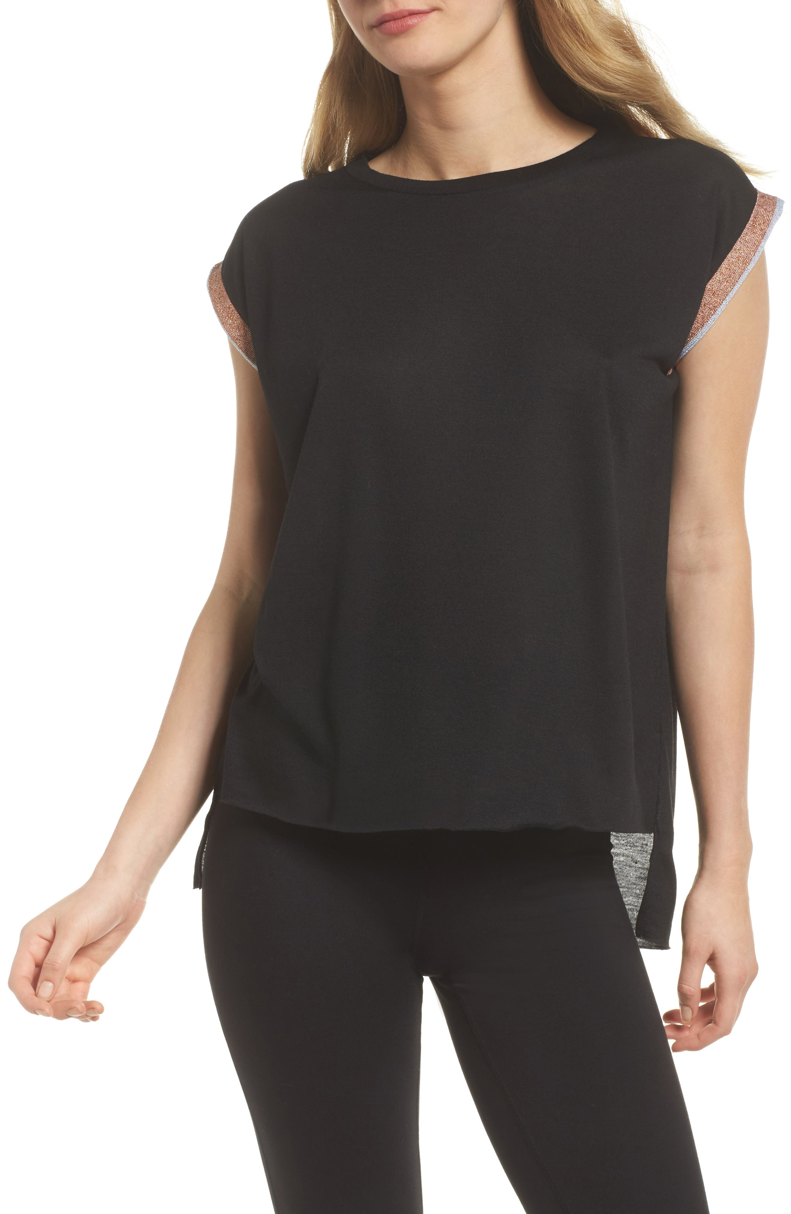 Collegiate Muscle Tee,                             Main thumbnail 1, color,                             Nero Rose Silver