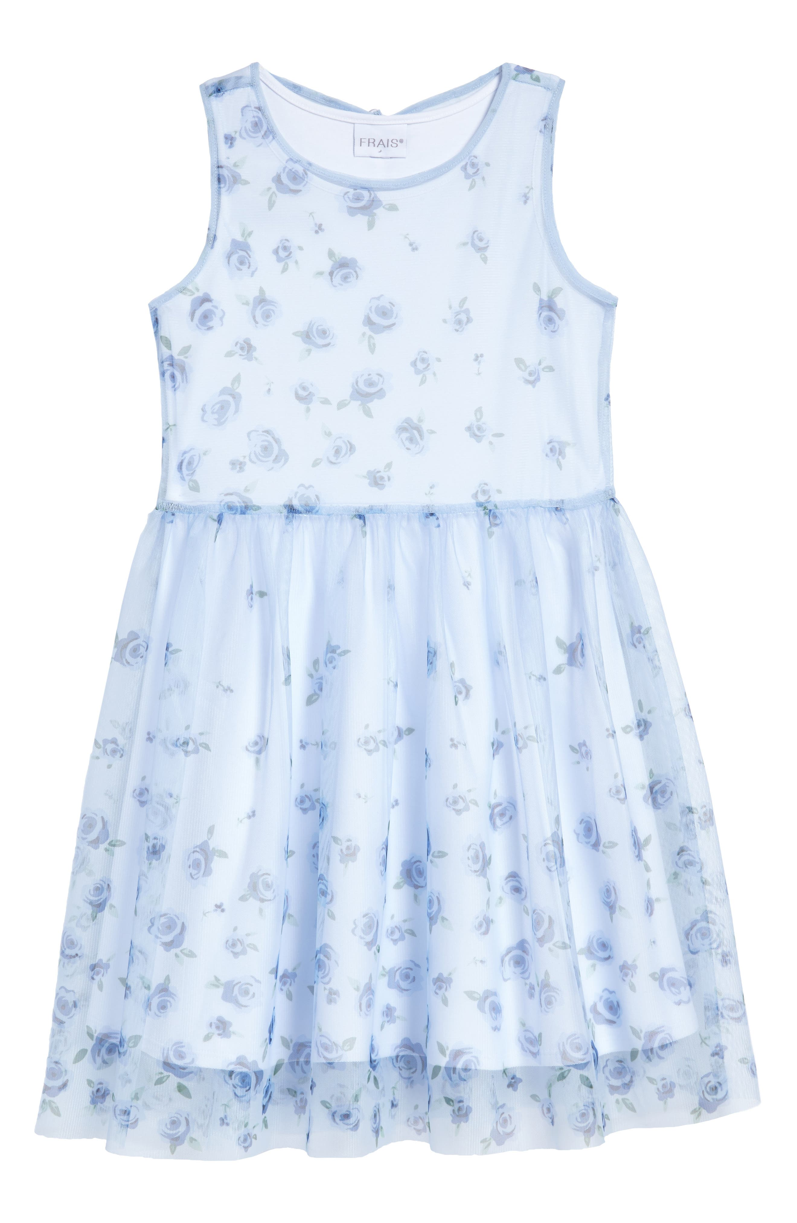 Frais Floral Print Mesh Dress (Toddler Girls, Little Girls & Big Girls)
