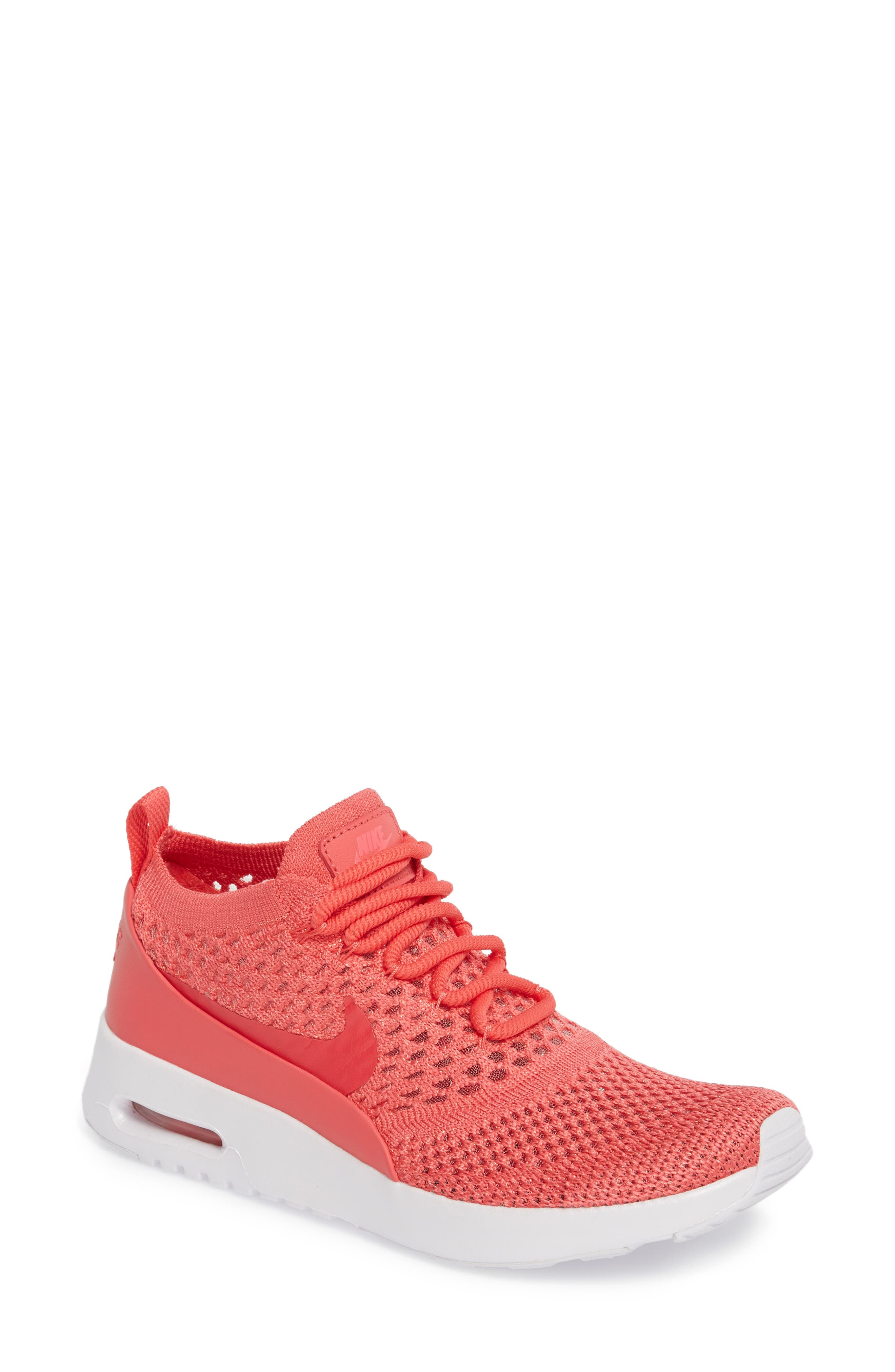 Women'S Air Max Thea Ultra Flyknit Lace Up Sneakers in Geranium Geranium