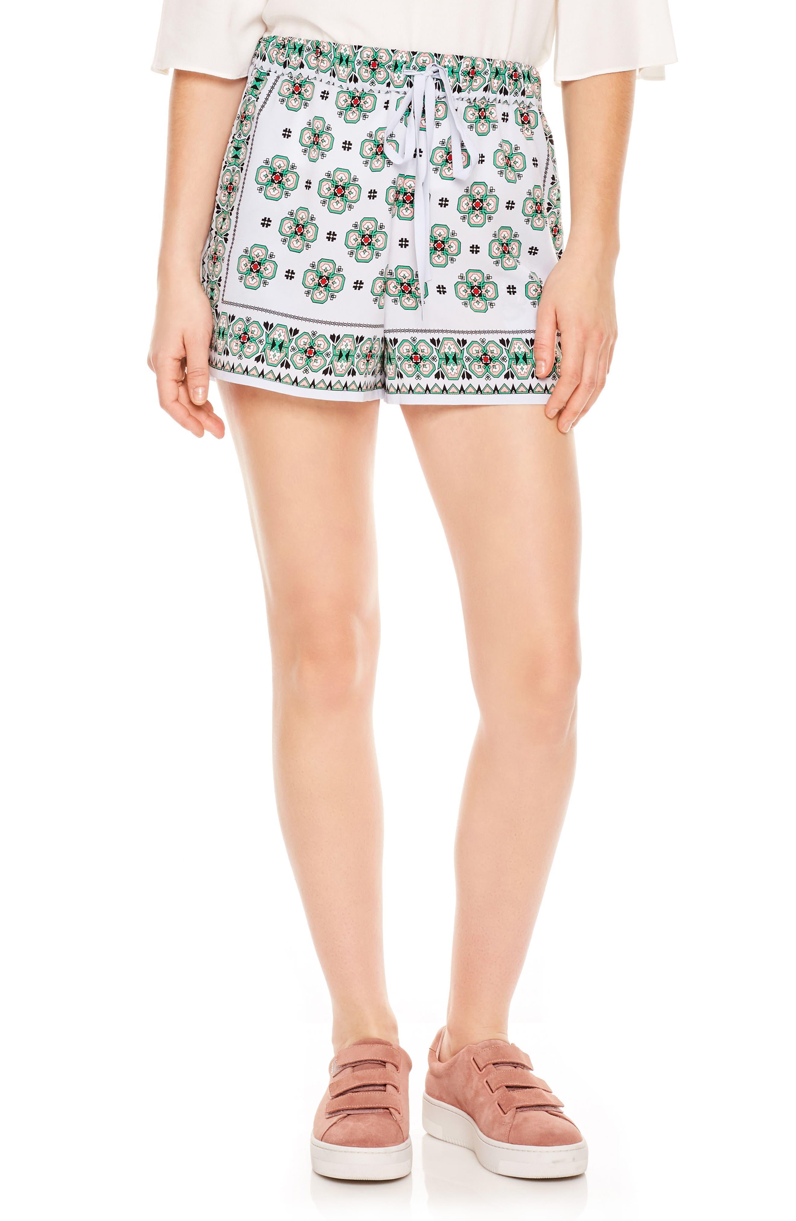 Drawstring Print Shorts,                         Main,                         color, Sky Blue