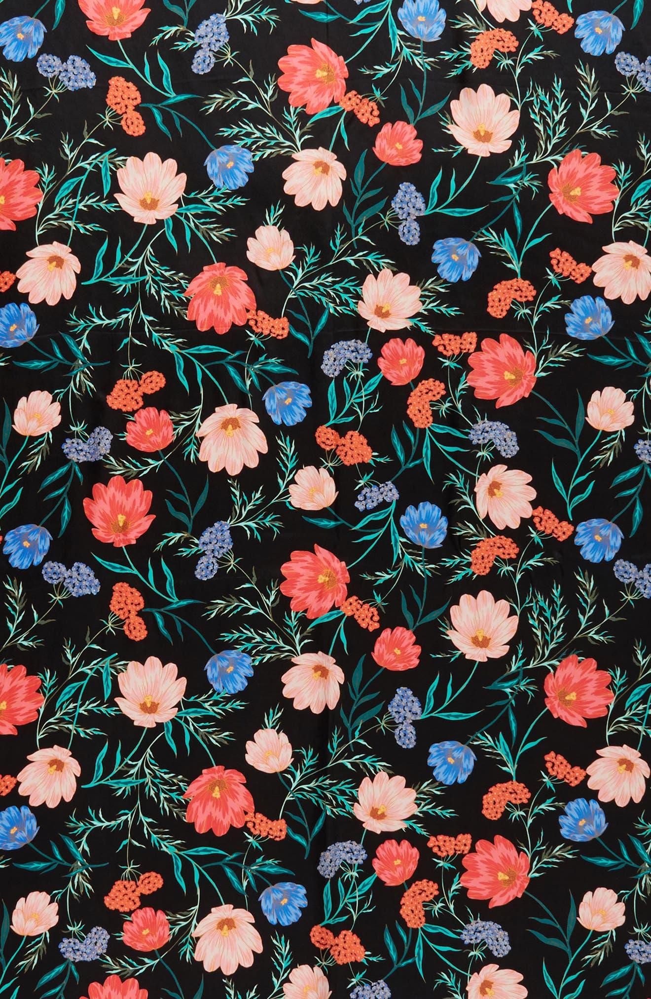 blossom silk scarf,                             Alternate thumbnail 4, color,                             Black