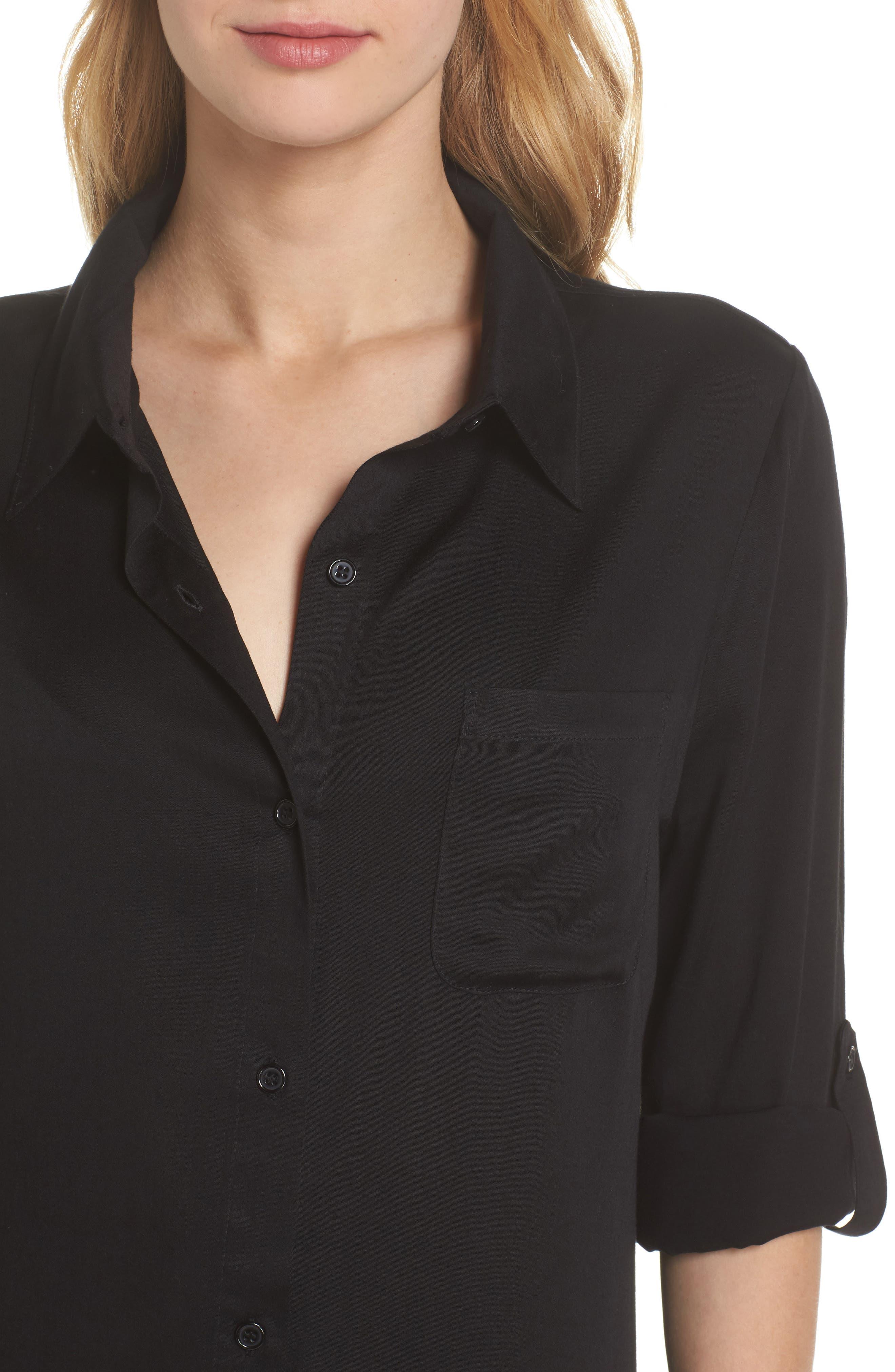 Big Sur Cover-Up Boyfriend Shirt,                             Alternate thumbnail 4, color,                             Black