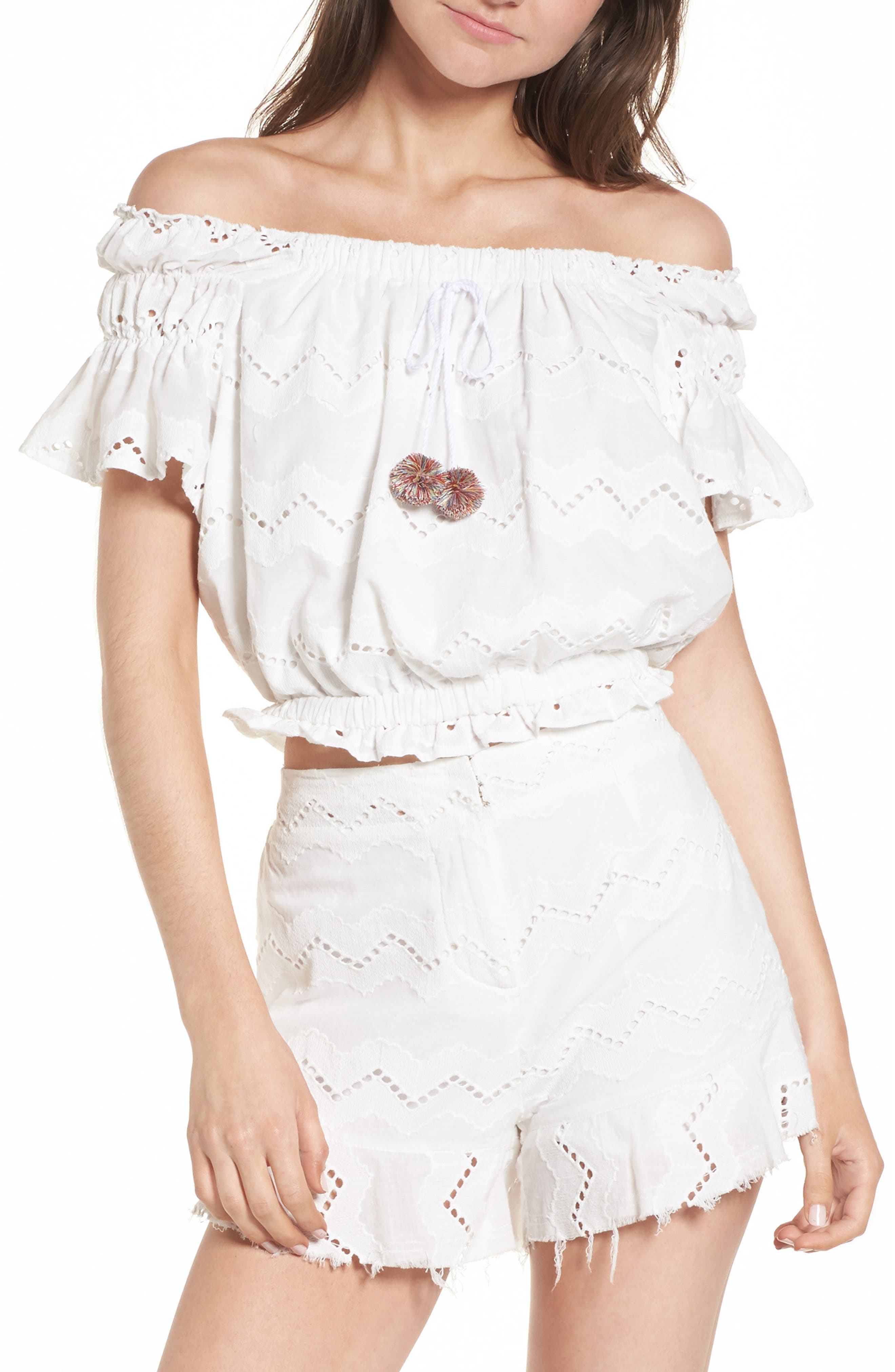 Main Image - Moon River Eyelet Off the Shoulder Crop Top