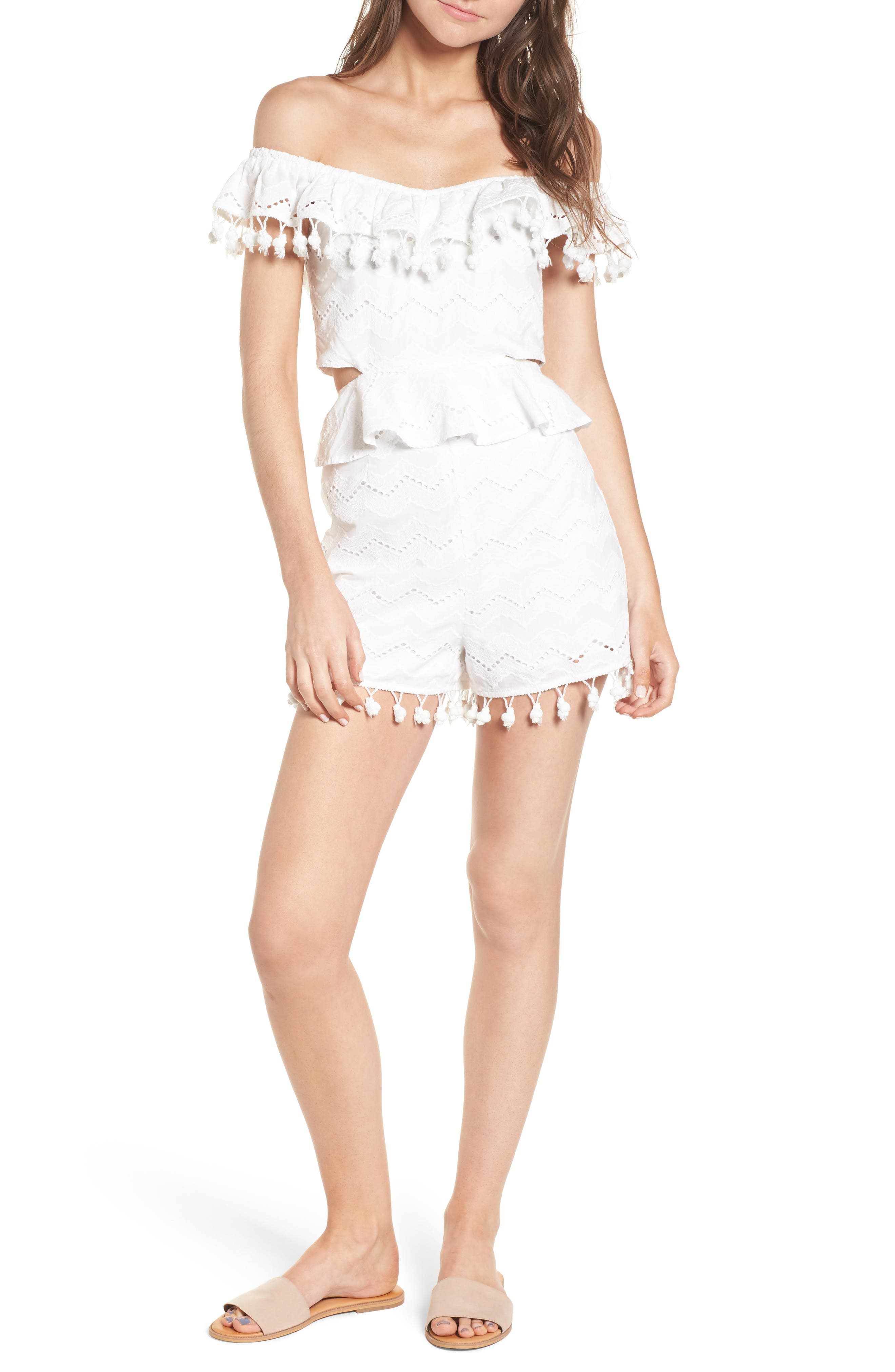 Pompom Cutout Off the Shoulder Romper,                             Main thumbnail 1, color,                             White