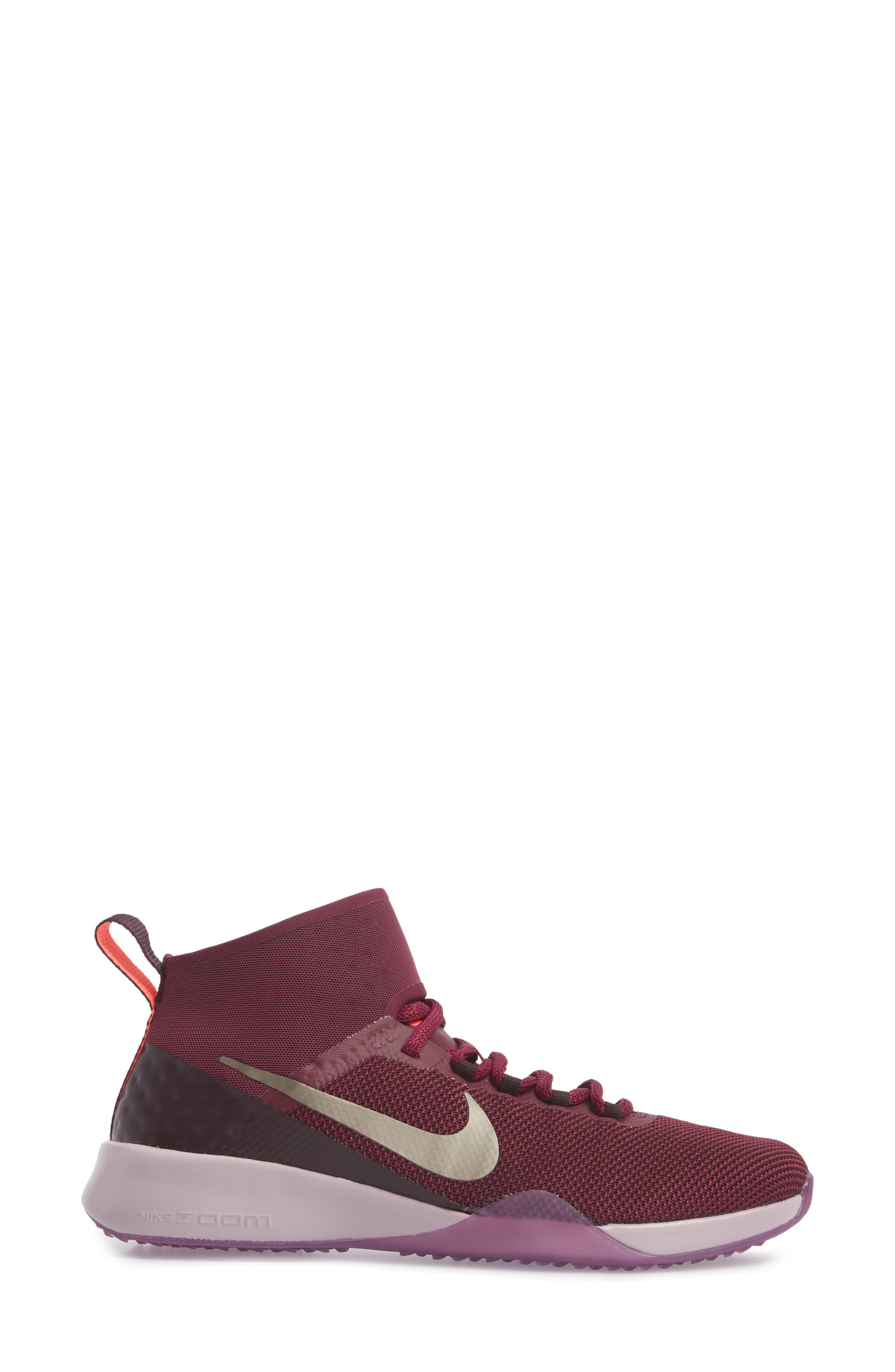 Air Zoom Strong 2 Gem Training Shoe,                             Alternate thumbnail 3, color,                             Bordeaux/ Metallic Pewter