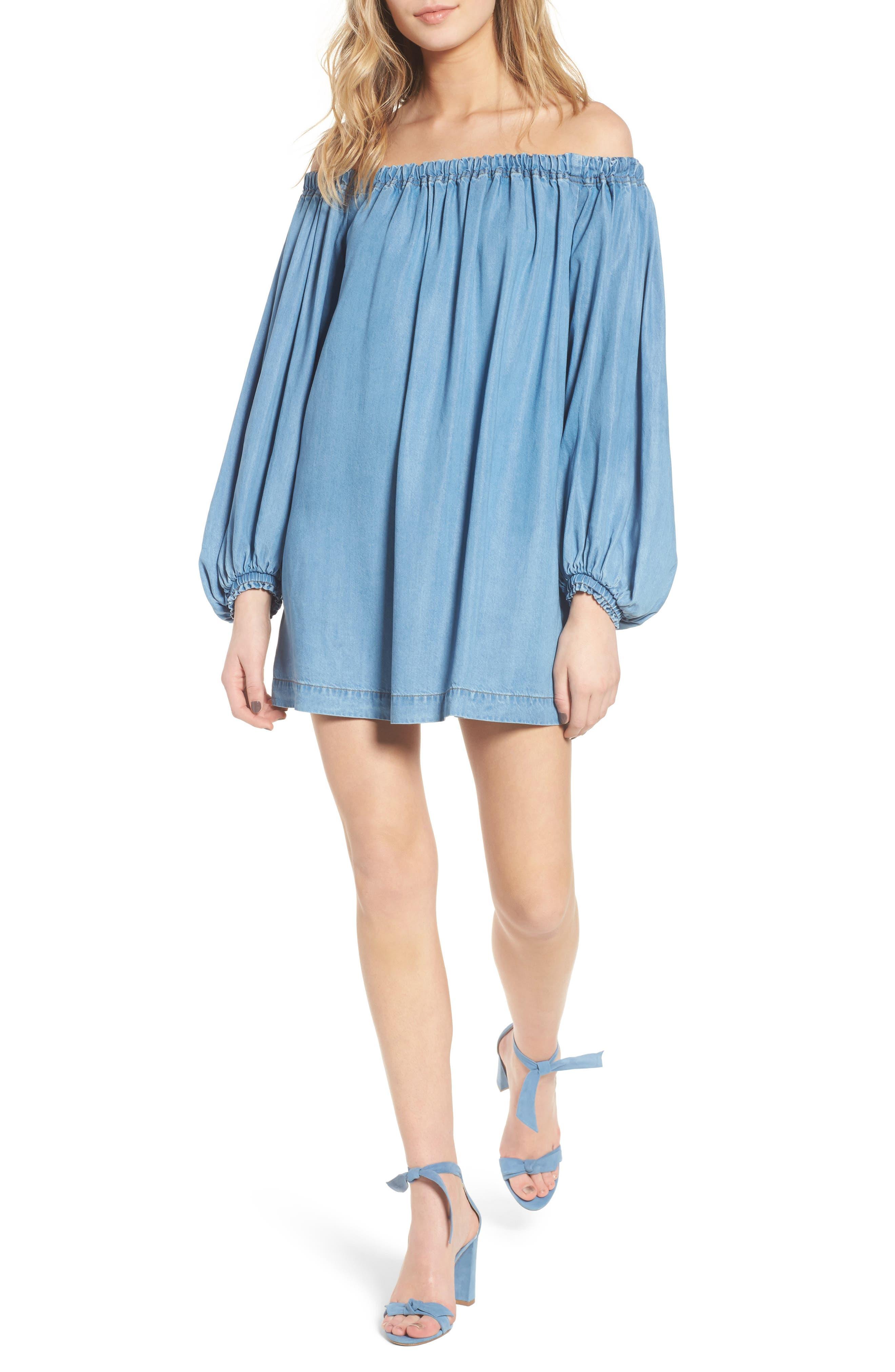 Blouson Off the Shoulder Shift Dress,                         Main,                         color, Pacific Blue Sky